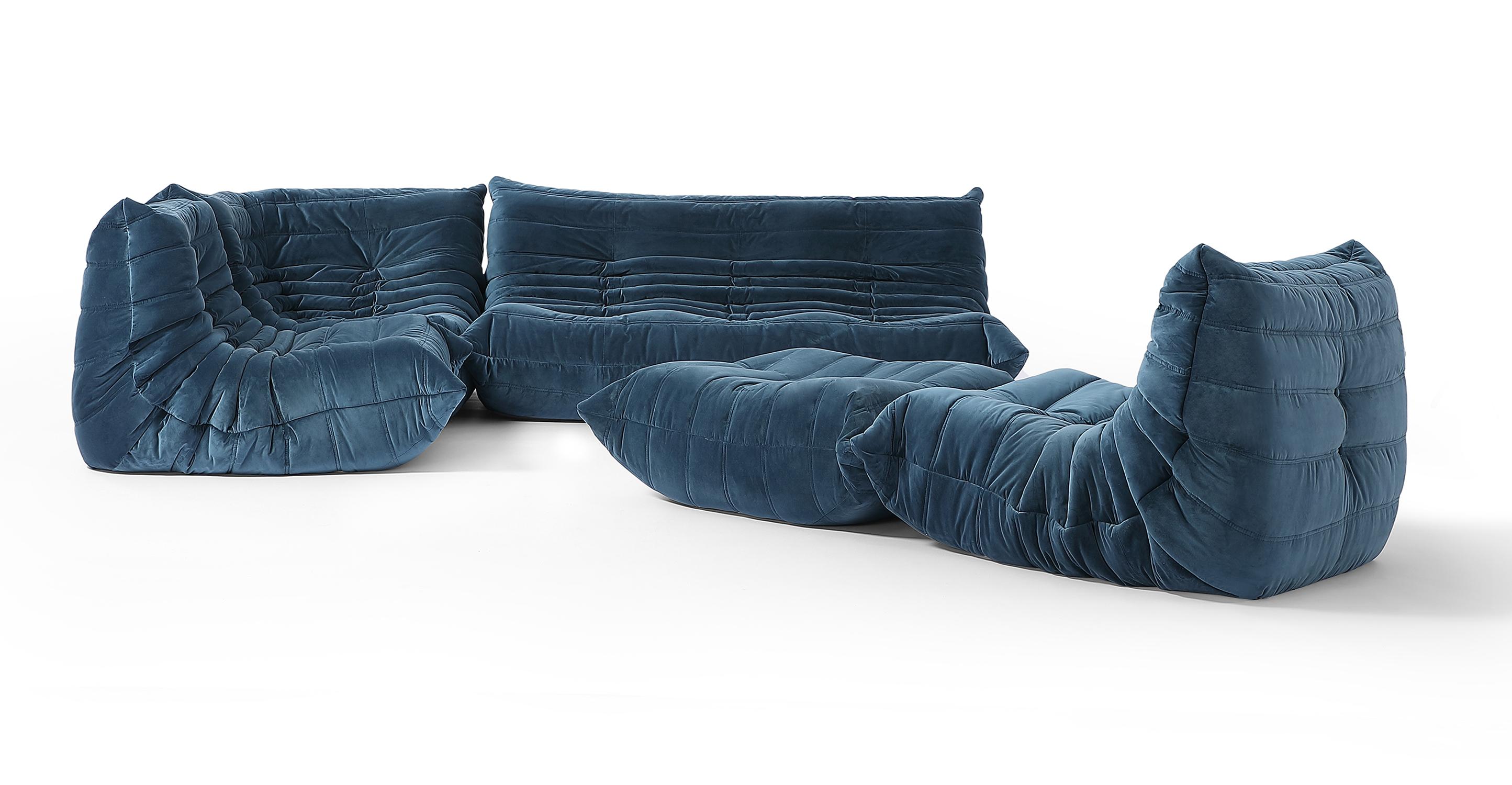 "Louvre Modular 110"" Milo 5-pc Fabric Sofa, Petrol Velvet"