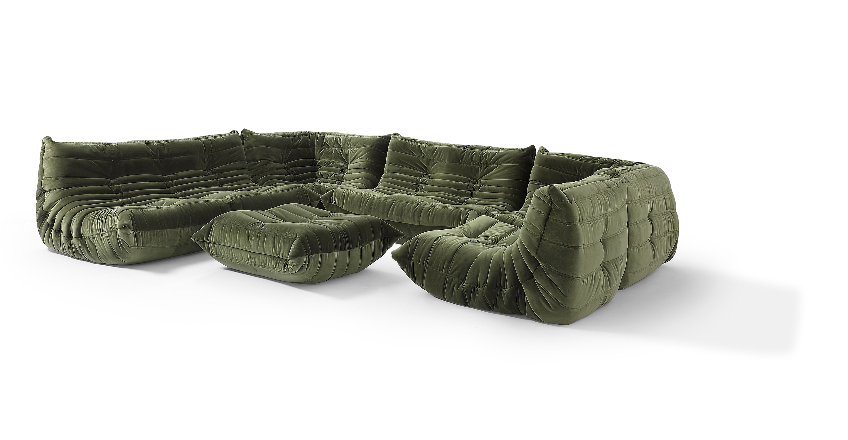 "Louvre Modular 133"" Pyra 6-pc Fabric Sofa, Fern Velvet"
