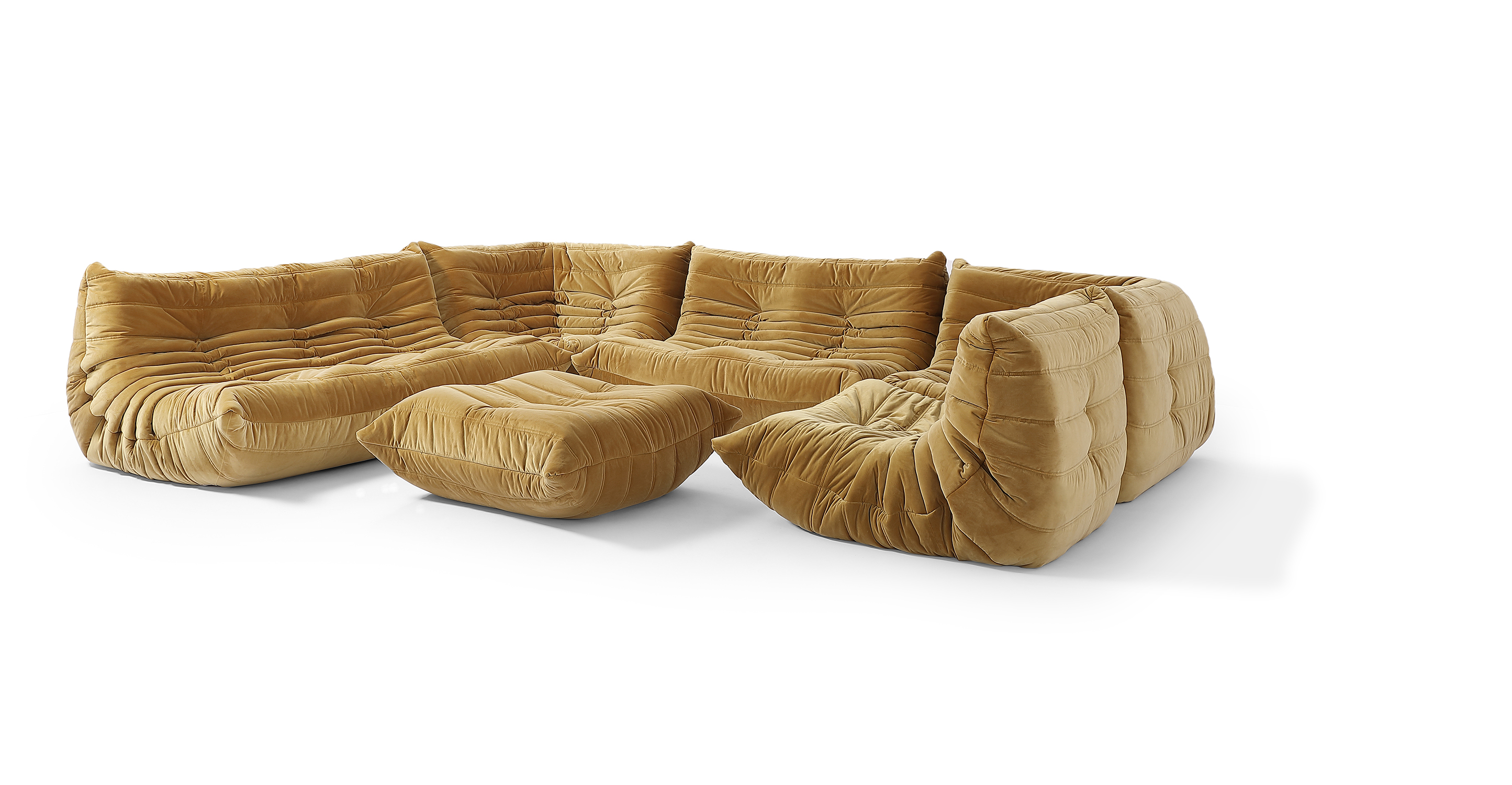"Louvre Modular 133"" Pyra 6-pc Fabric Sofa, Merigold Velvet"