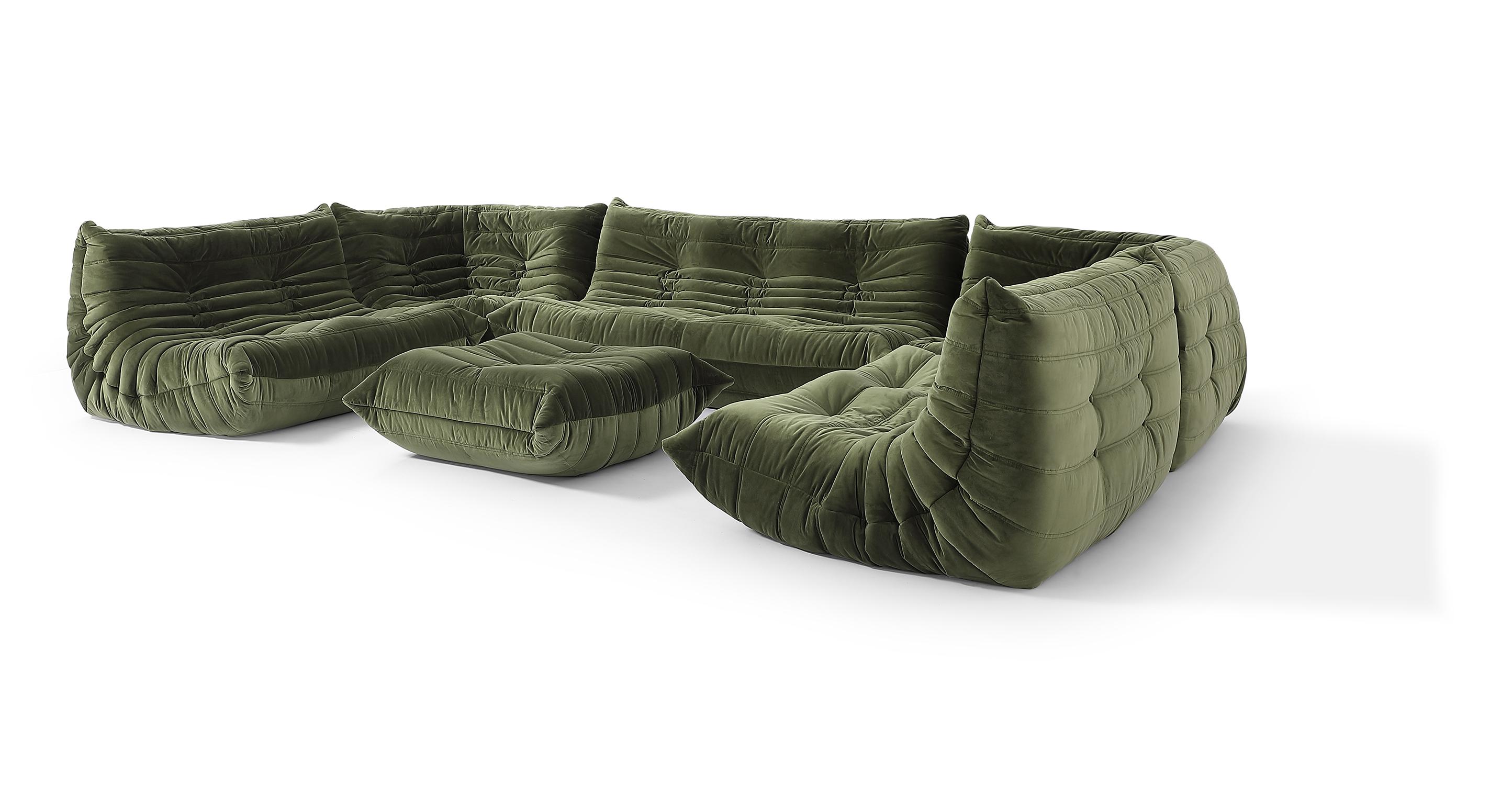 "Louvre Modular 150"" Vinci 6-pc Fabric Sofa, Fern Velvet"