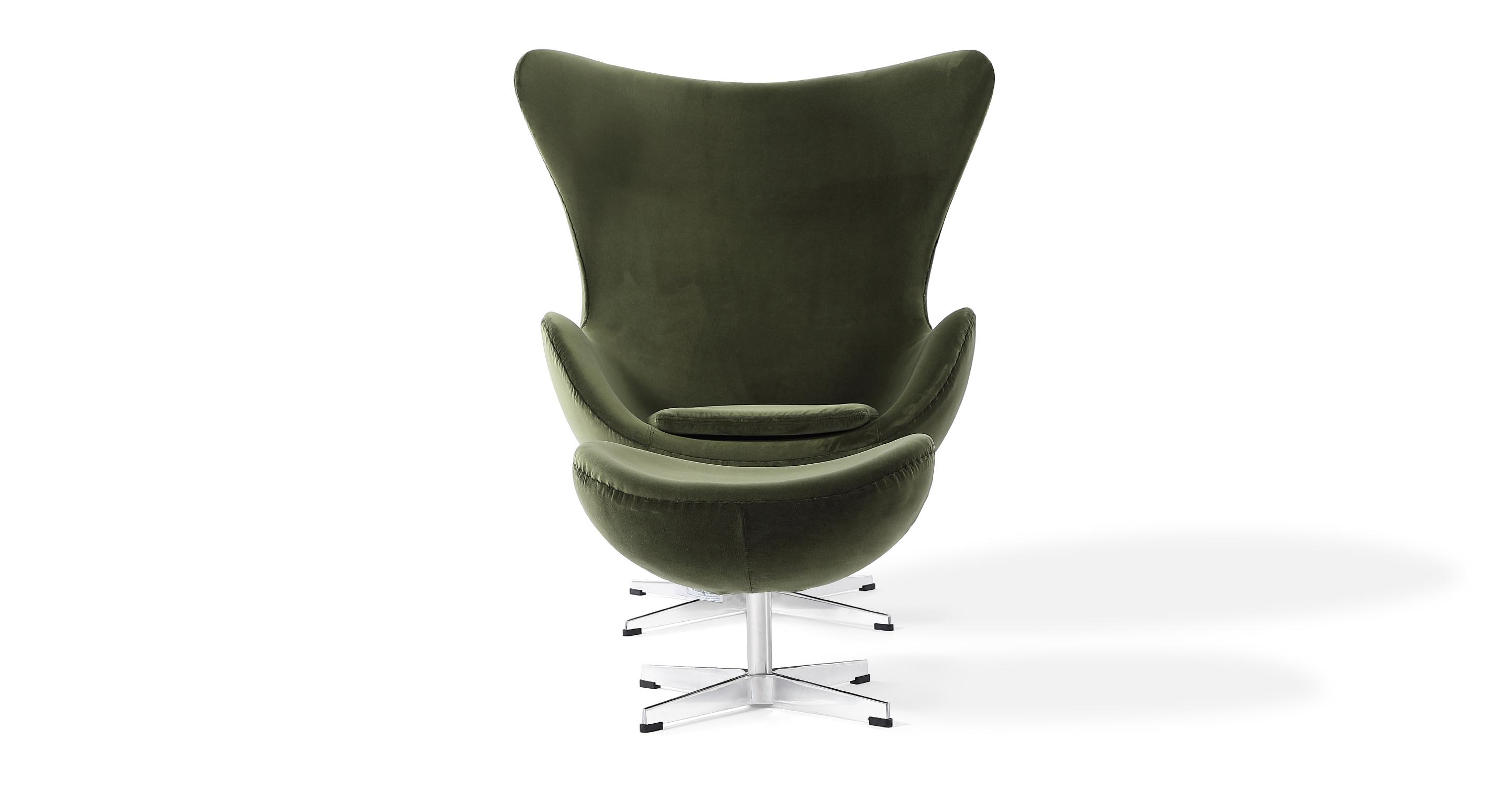 Amoeba Swivel Fabric Chair & Ottoman, Fern Velvet