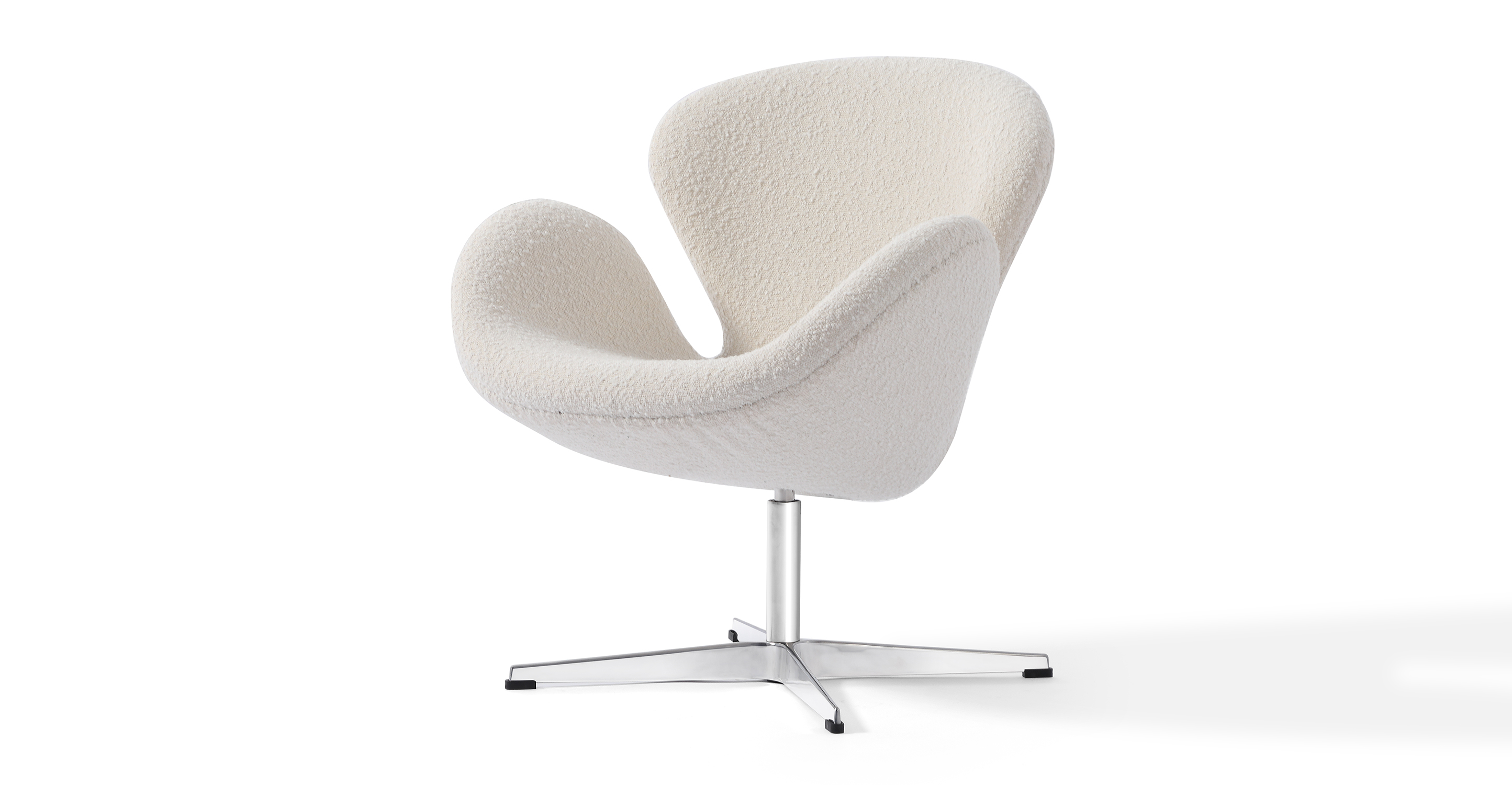 """Trumpeter 28"""" Swivel Fabric Chair, Blanc Boucle"""