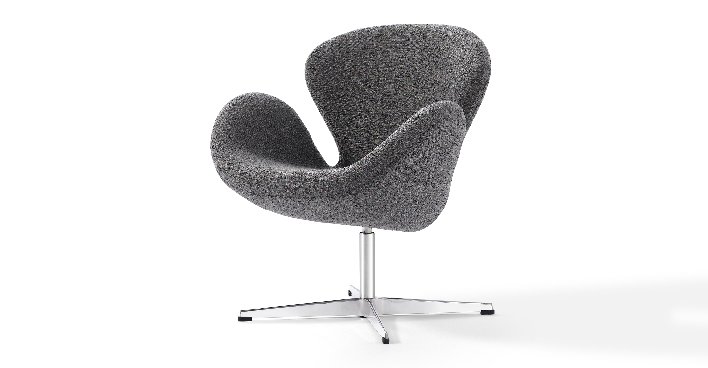 """Trumpeter 28"""" Swivel Fabric Chair, Gris Boucle"""