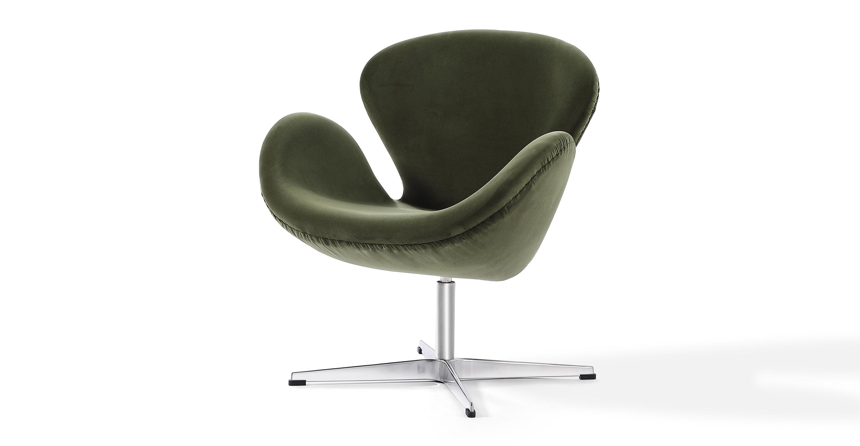 """Trumpeter 28"""" Swivel Fabric Chair, Fern Velvet"""