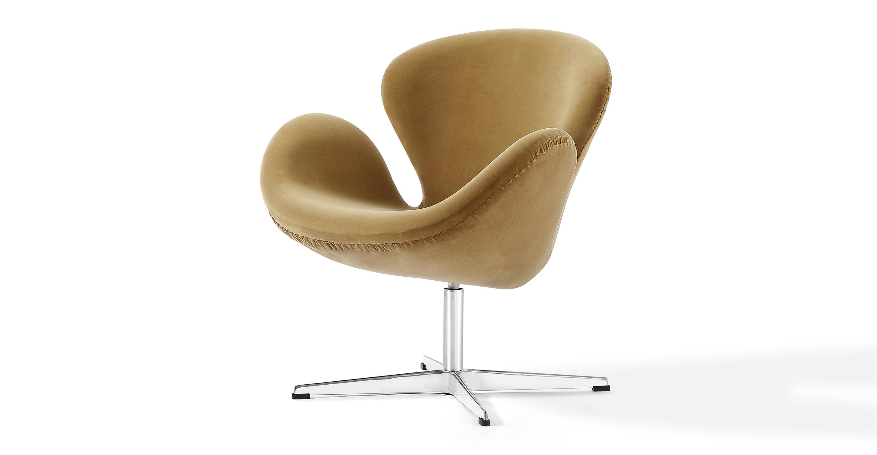 """Trumpeter 28"""" Swivel Fabric Chair, Merigold Velvet"""