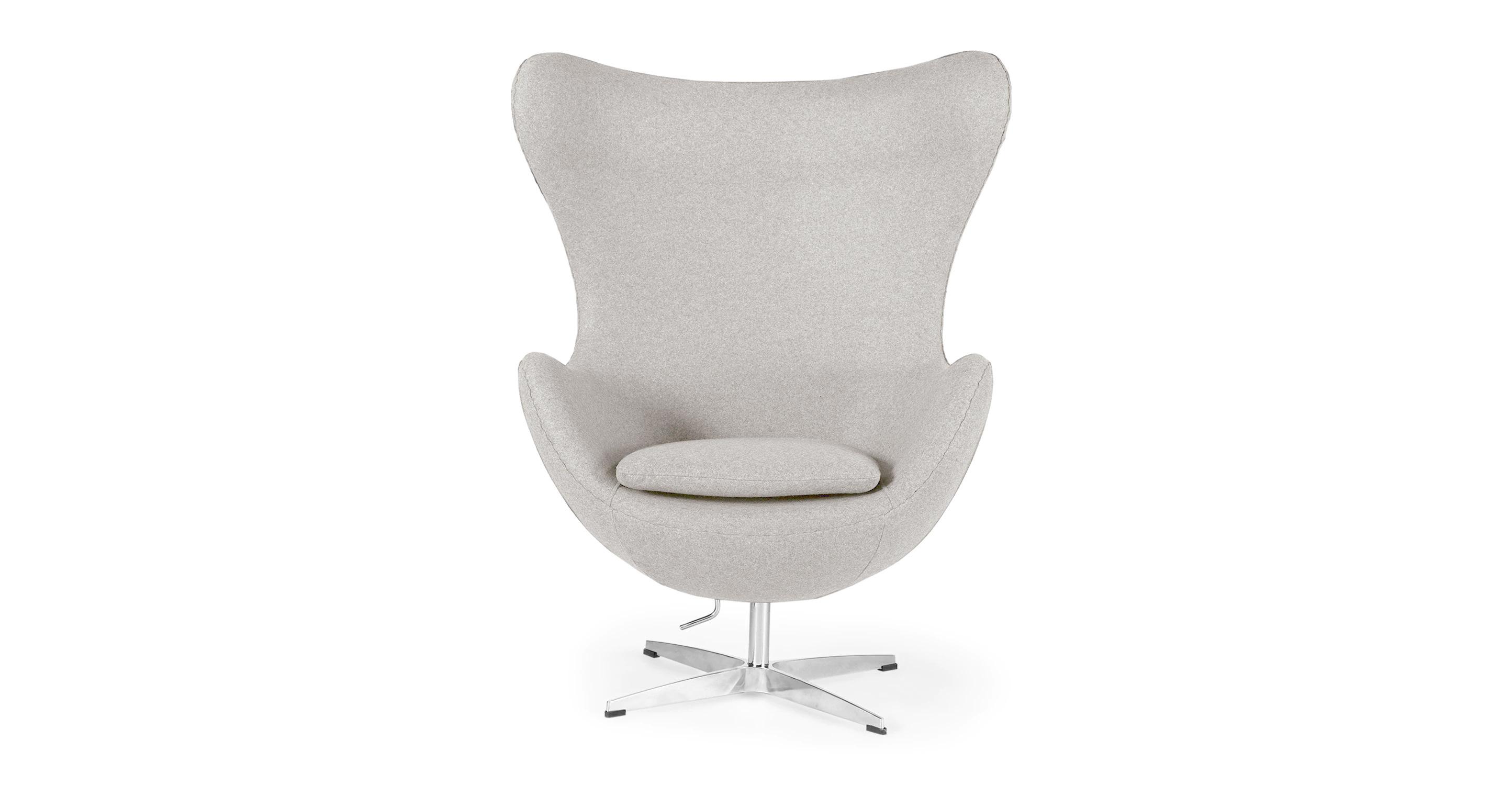 "Amoeba 35"" Swivel Fabric Chair, Blanc Boucle"