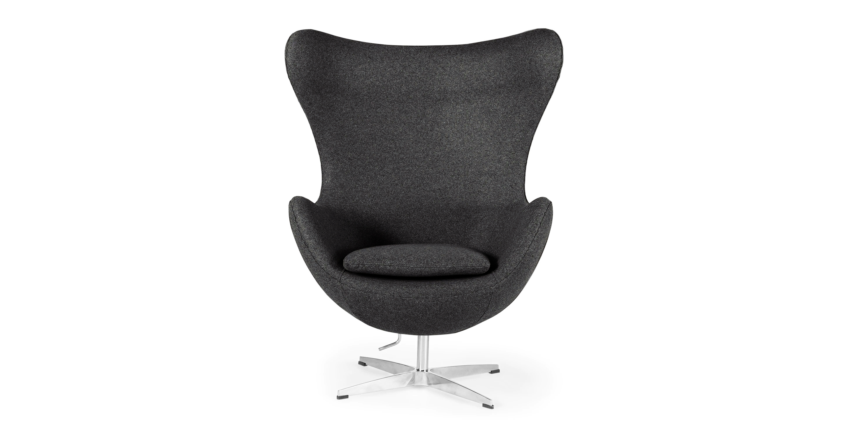"Amoeba 35"" Swivel Fabric Chair, Gris Boucle"