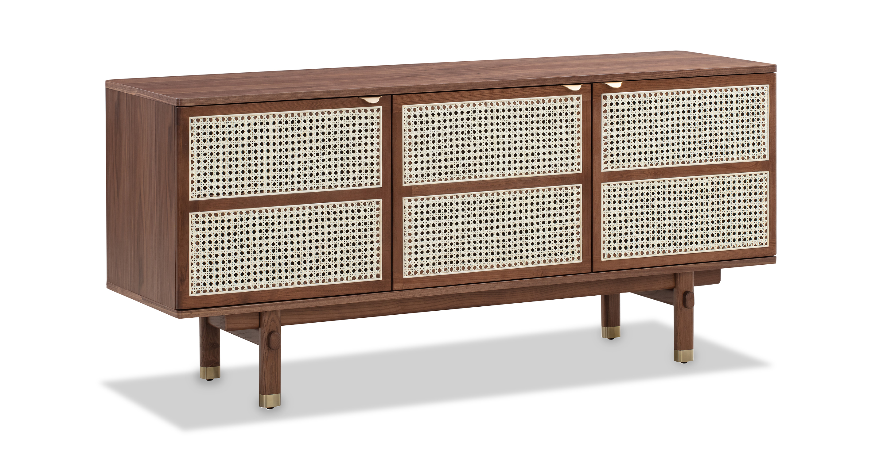 "Boho Wicker 63"" Sideboard Cabinet, Walnut"