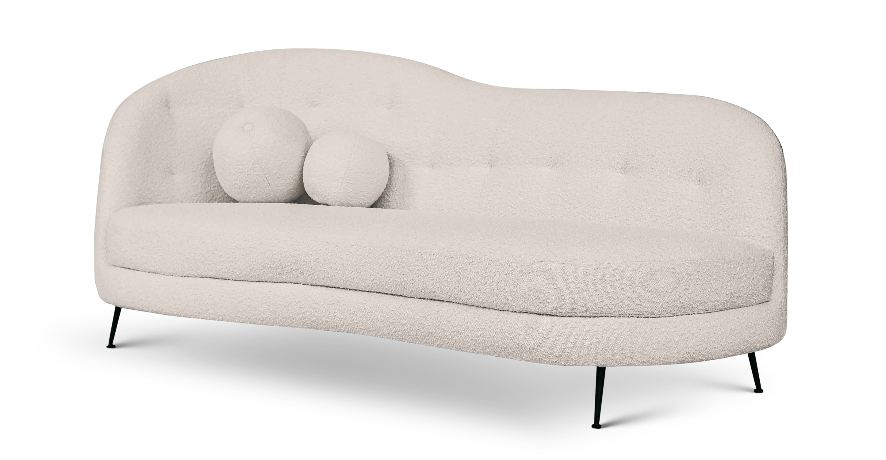 "Jacobsen Settee 83"" Fabric Sofa, Blanc Boucle"