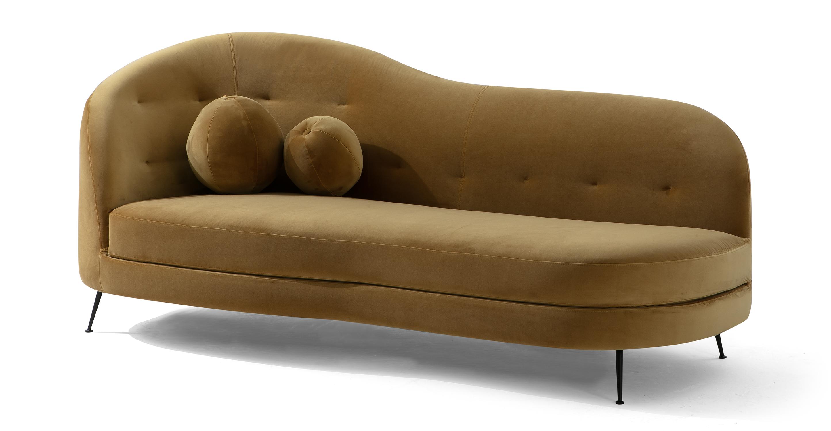 """Jacobsen Settee 83"""" Fabric Sofa, Merigold Velvet"""