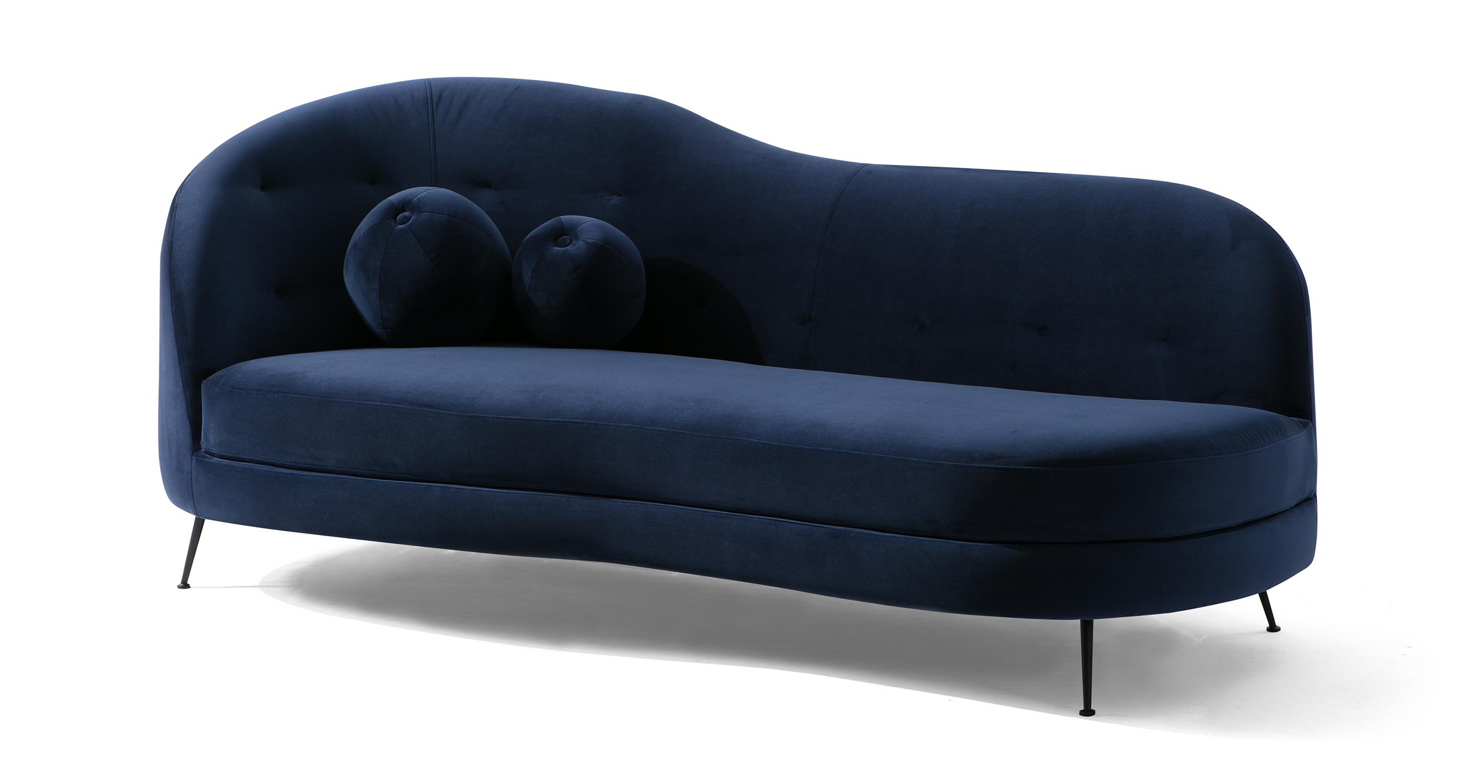 """Jacobsen Settee 83"""" Fabric Sofa, Oxford Velvet"""