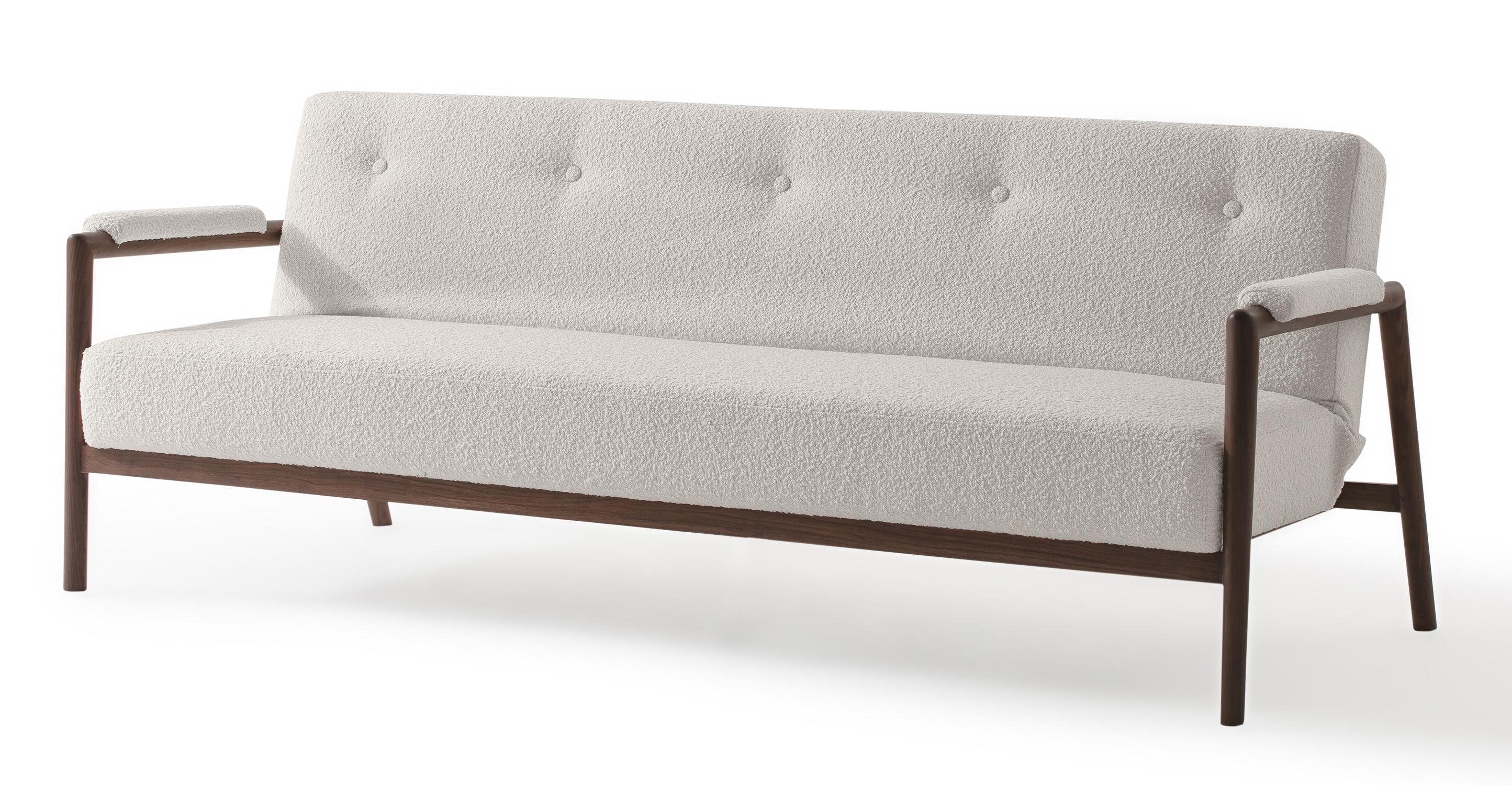 "Orson 85"" Fabric Sofa Sleeper, Blanc Boucle"