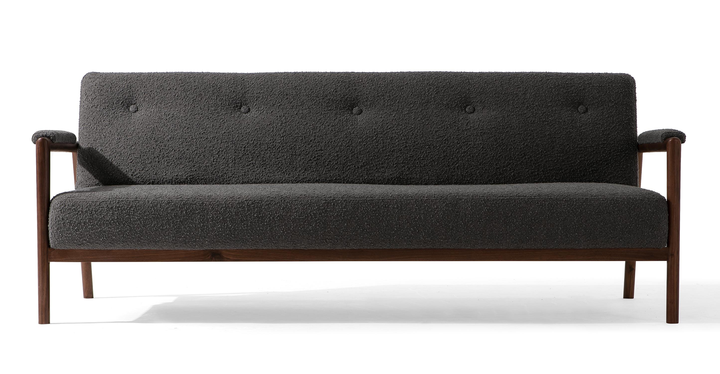 "Orson 85"" Fabric Sofa Sleeper, Gris Boucle"