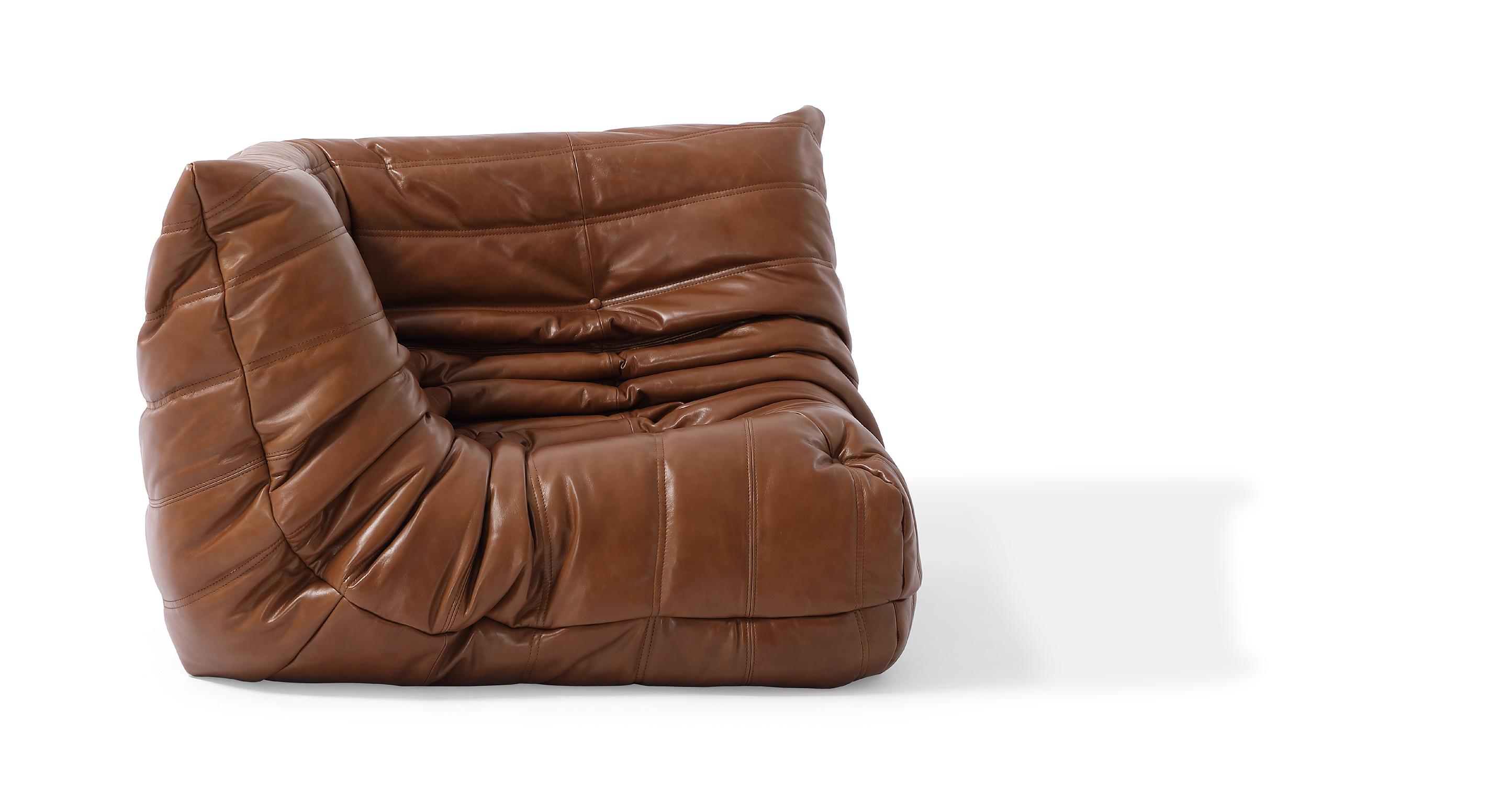 "Louvre 40"" Leather Corner Chair, Saddle"