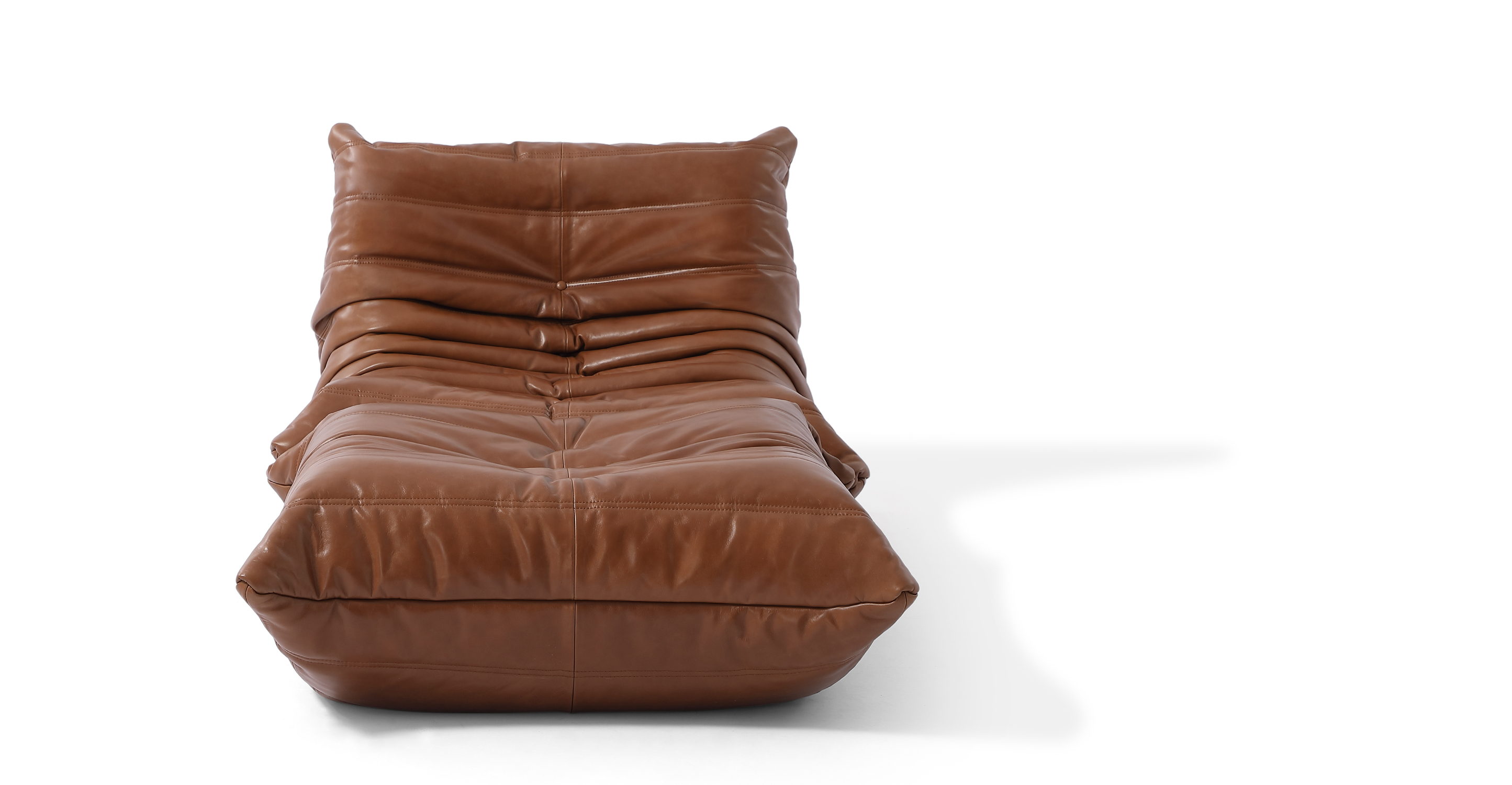Louvre Leather Chair & Ottoman, Saddle