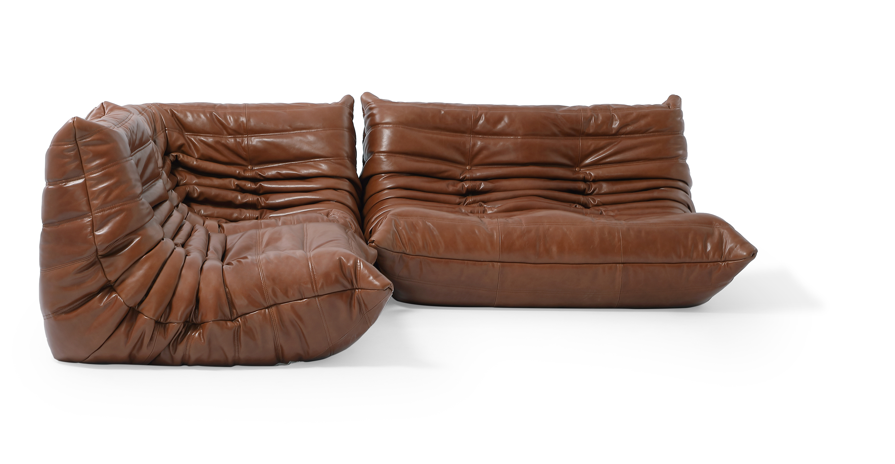 "Louvre Modular 93"" Nikki 3-pc Leather Sofa, Saddle"