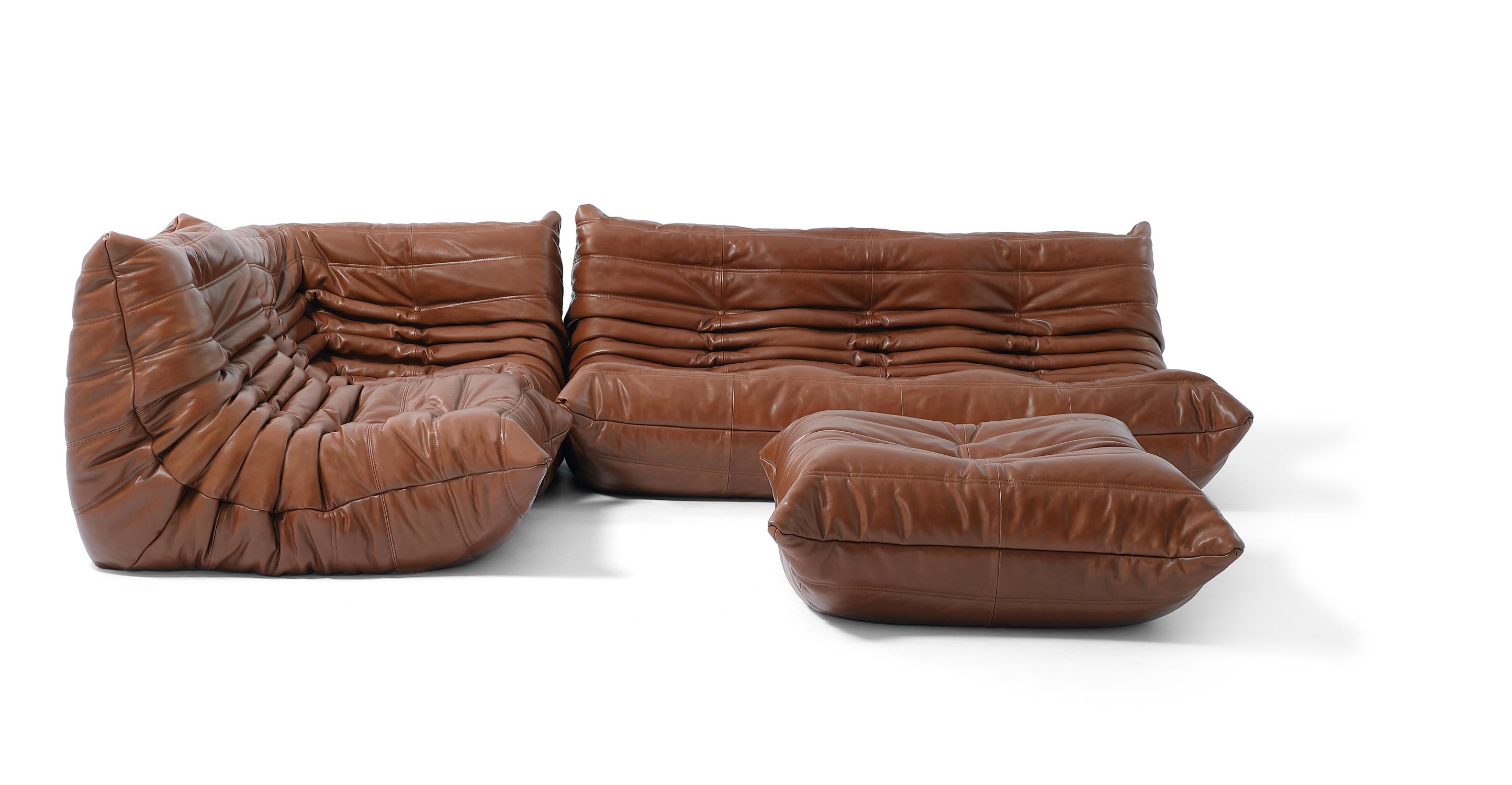 "Louvre Modular 110"" Venus 4-pc Leather Sofa, Saddle"