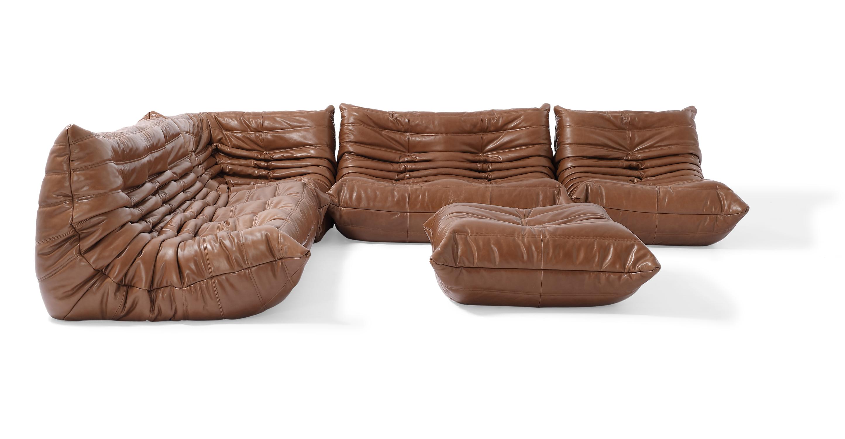 "Louvre Modular 128"" Amour 5-pc Leather Sofa, Saddle"