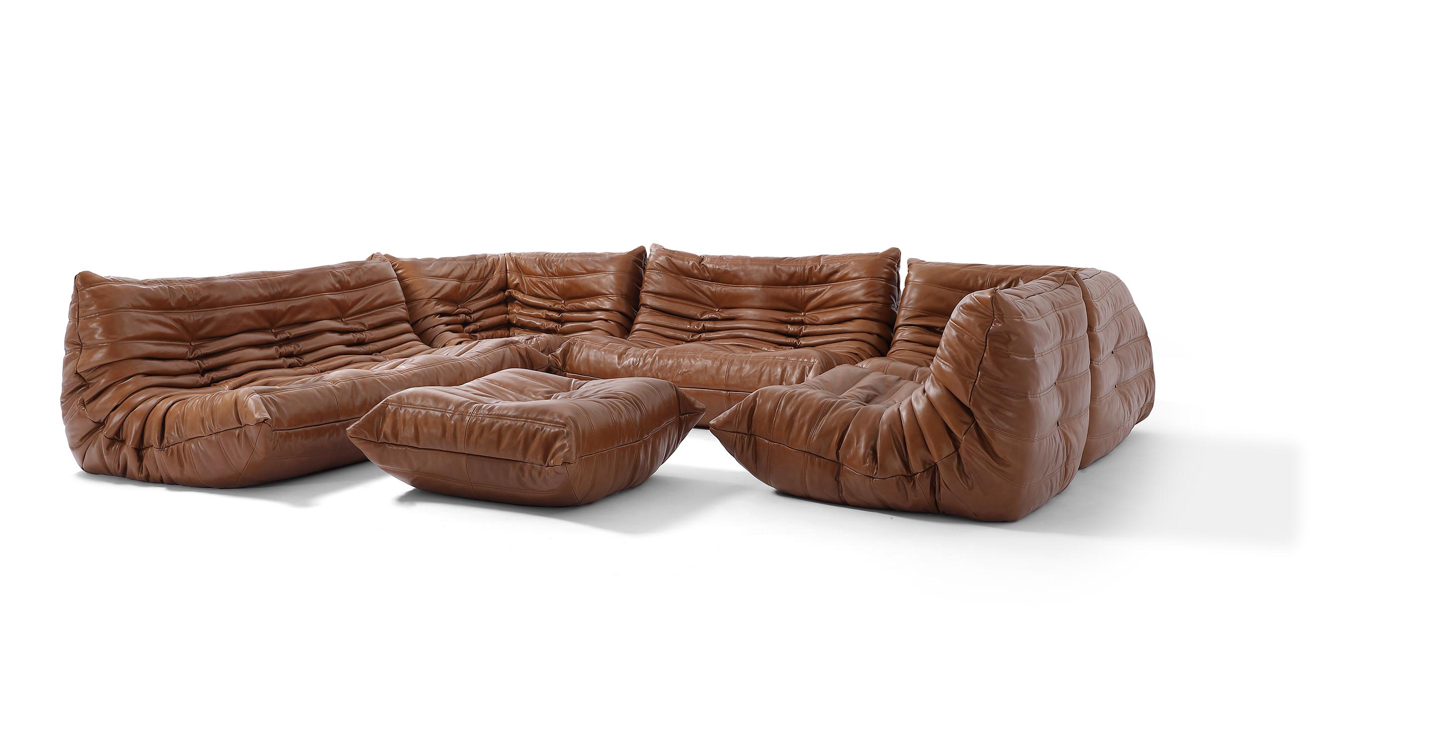 "Louvre Modular 133"" Pyra 6-pc Leather Sofa, Saddle"