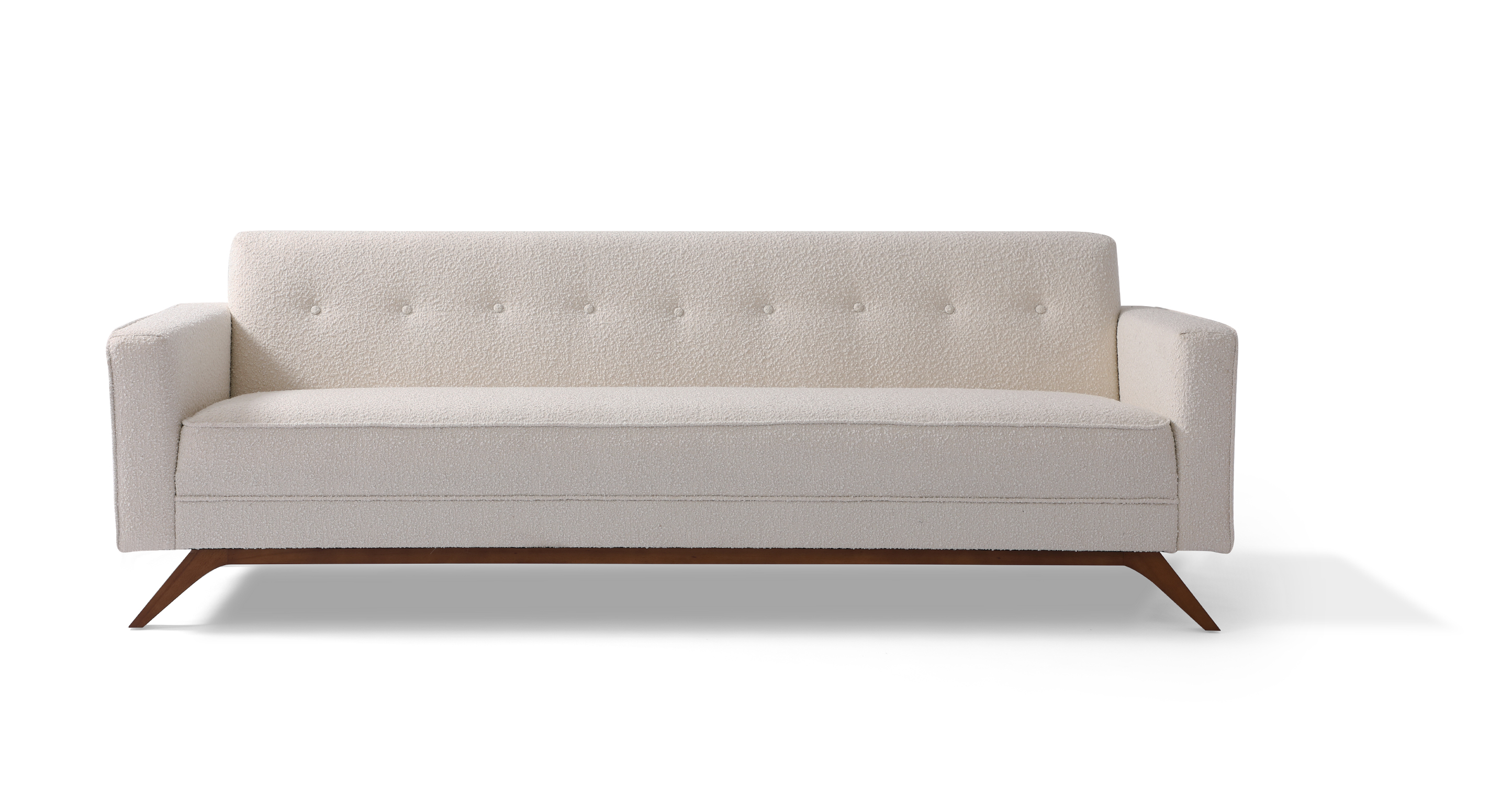 "Bauhaus 90"" Modern Fabric Sofa, Blanc Boucle"