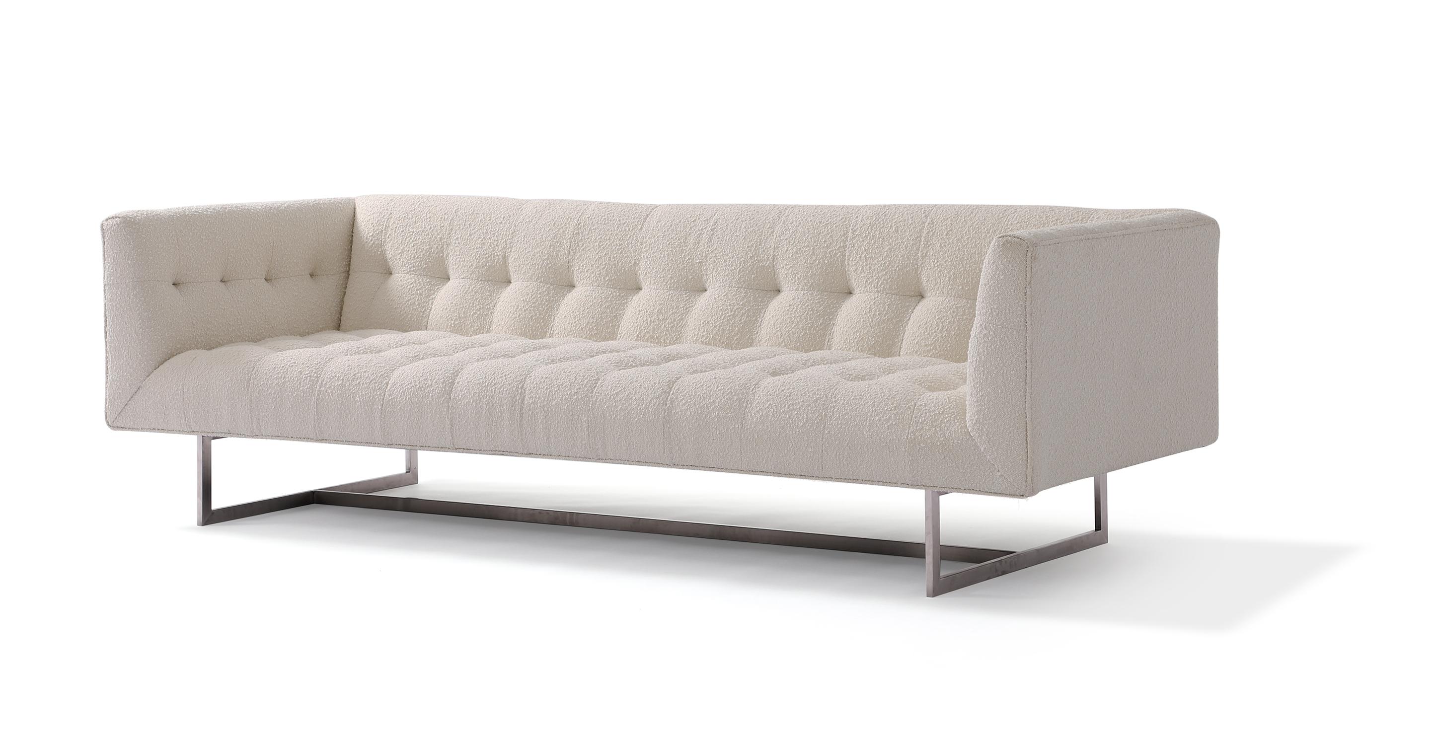 """Edward 87"""" Fabric Sofa, Blanc Boucle"""
