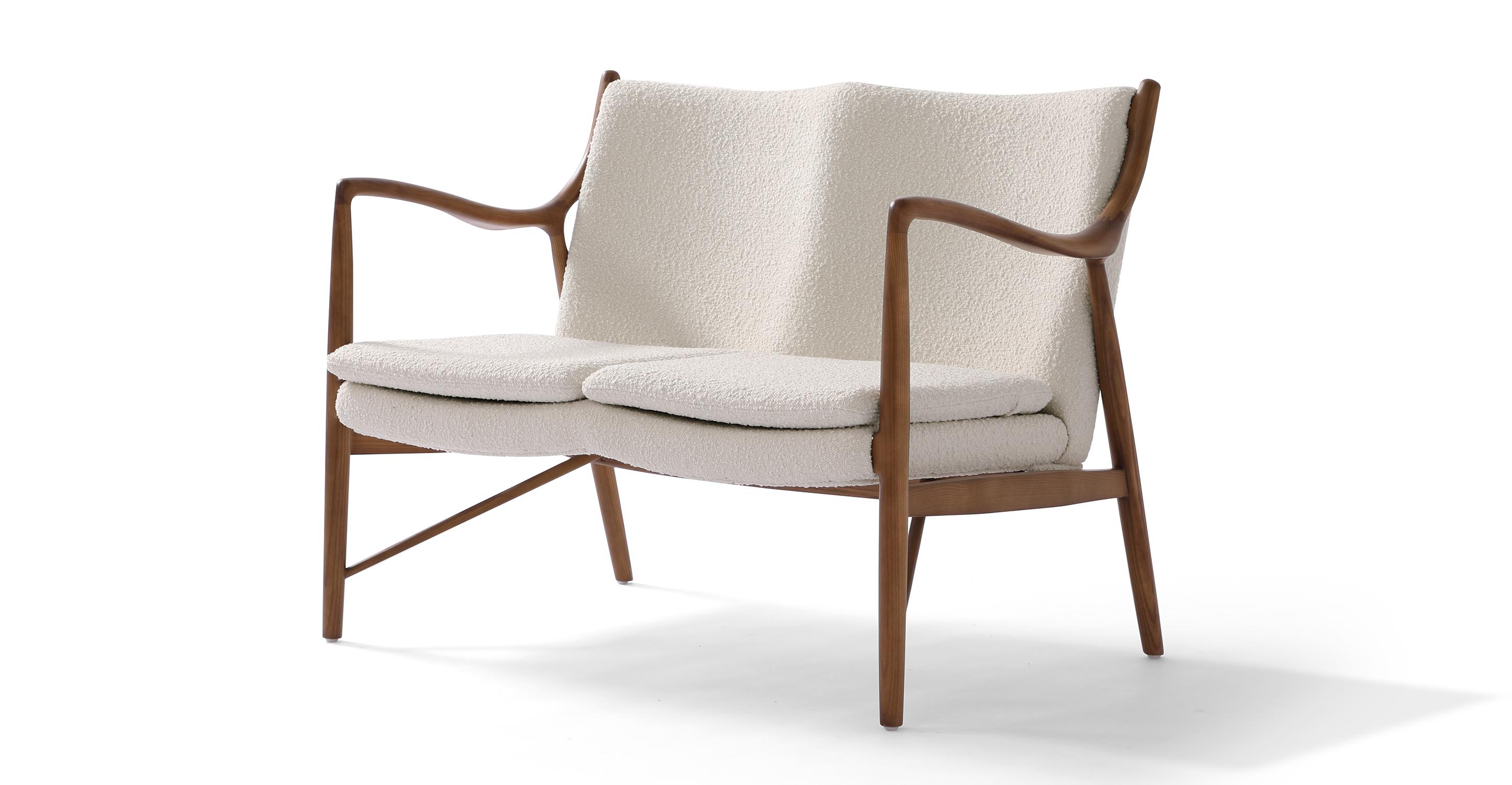 "Copenhagen 47"" Fabric Sofa, Walnut/Blanc Boucle"