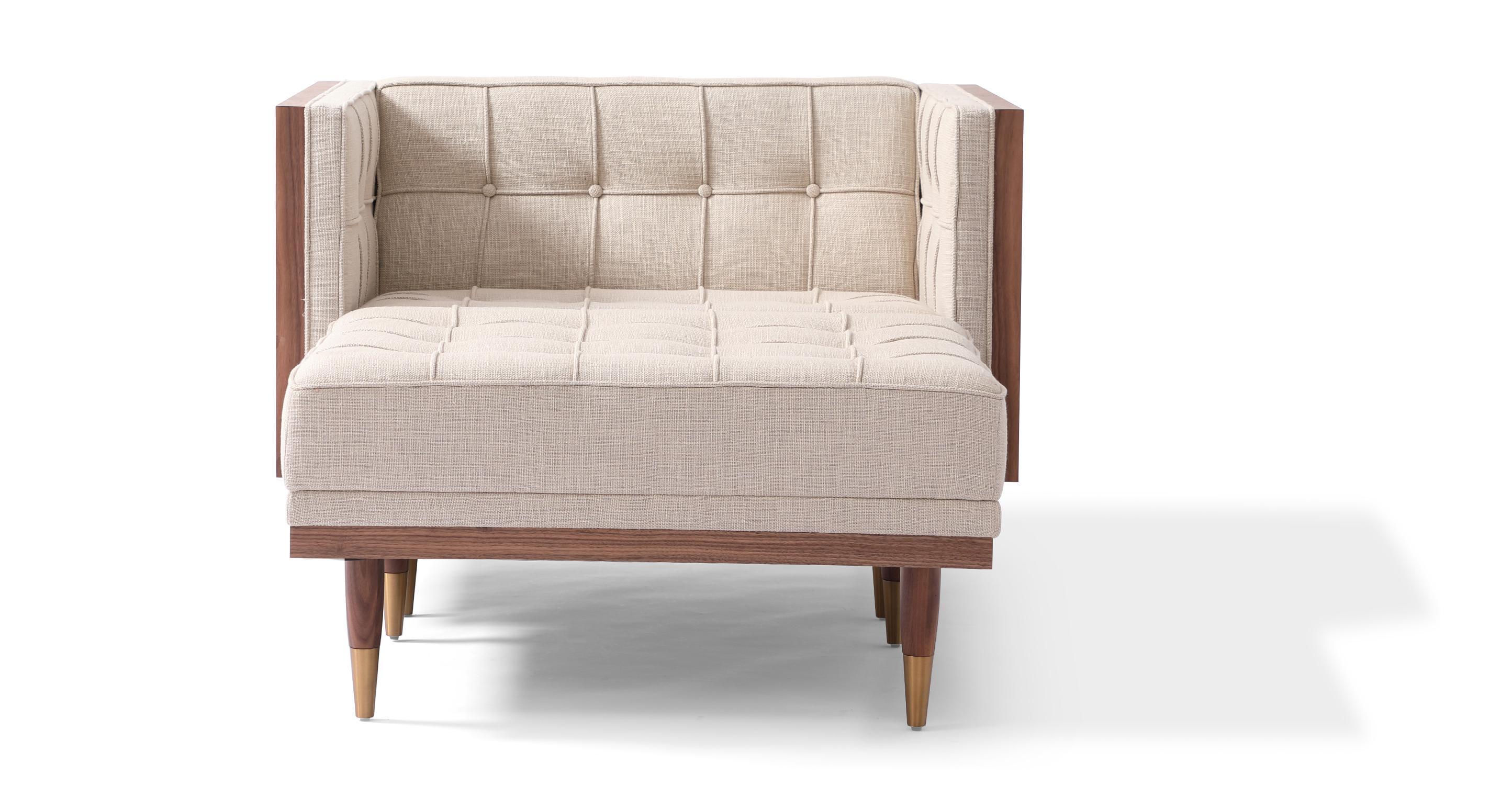 Woodrow Box Fabric Chair & Ottoman, Walnut/Urban Hemp