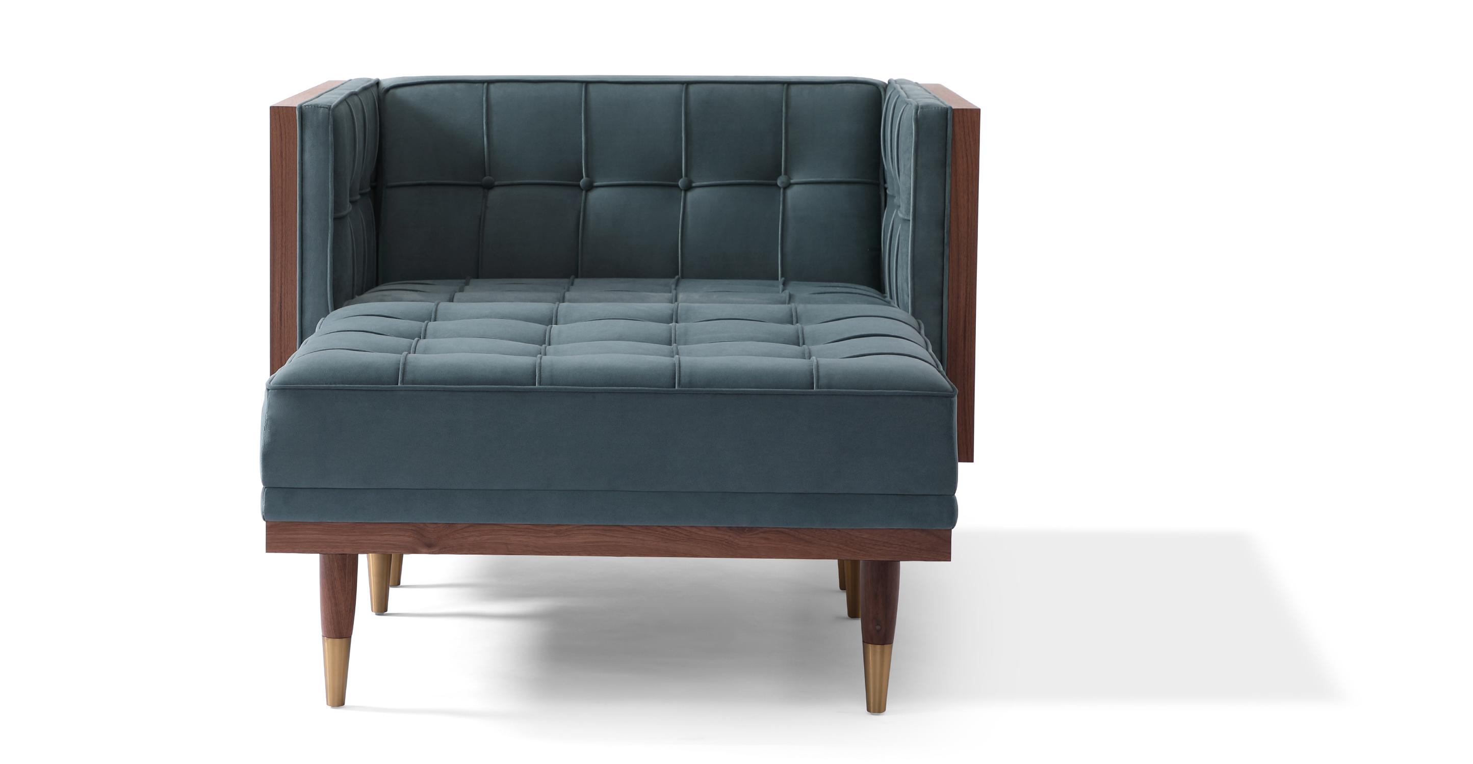 Woodrow Box Fabric Chair & Ottoman, Walnut/Neptune Velvet