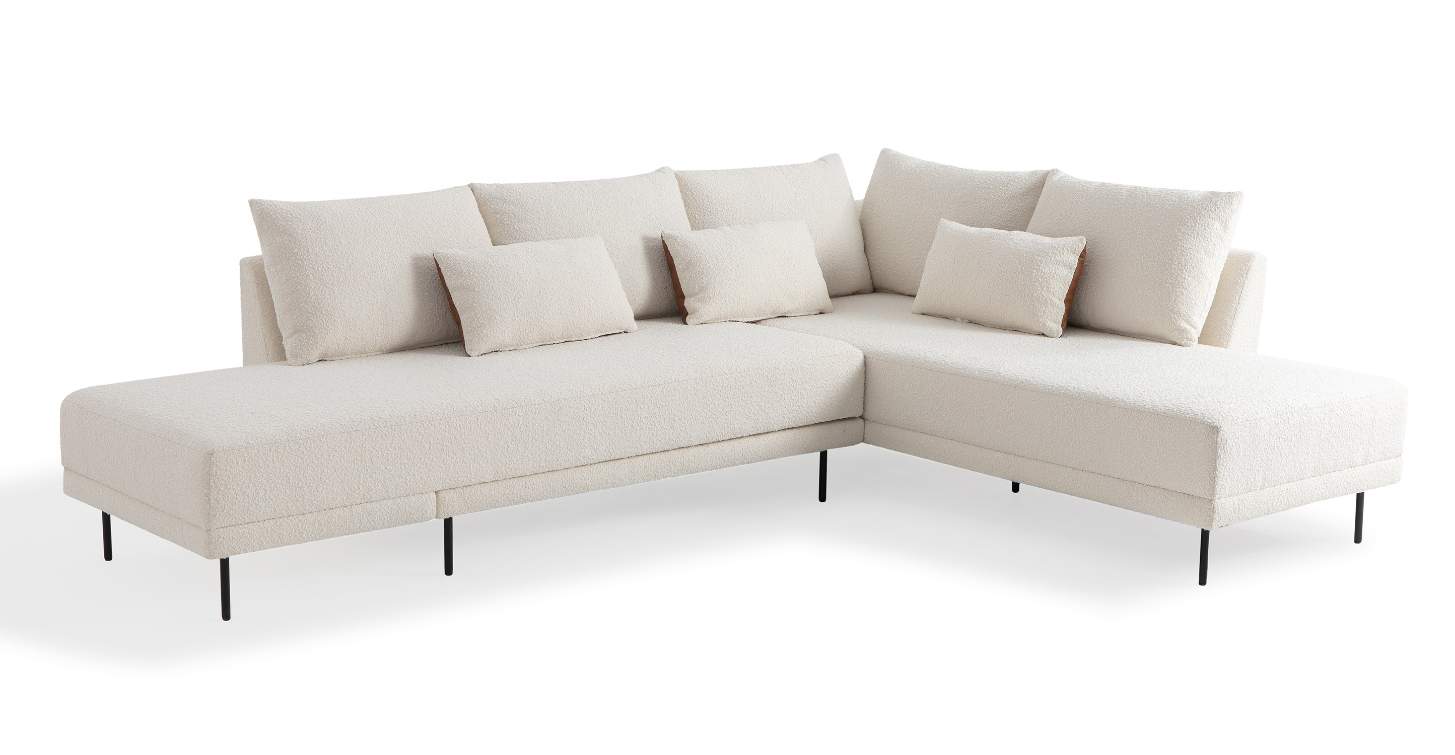 "Stash 117"" Fabric Sectional Sleeper Right, Blanc & Bronze"