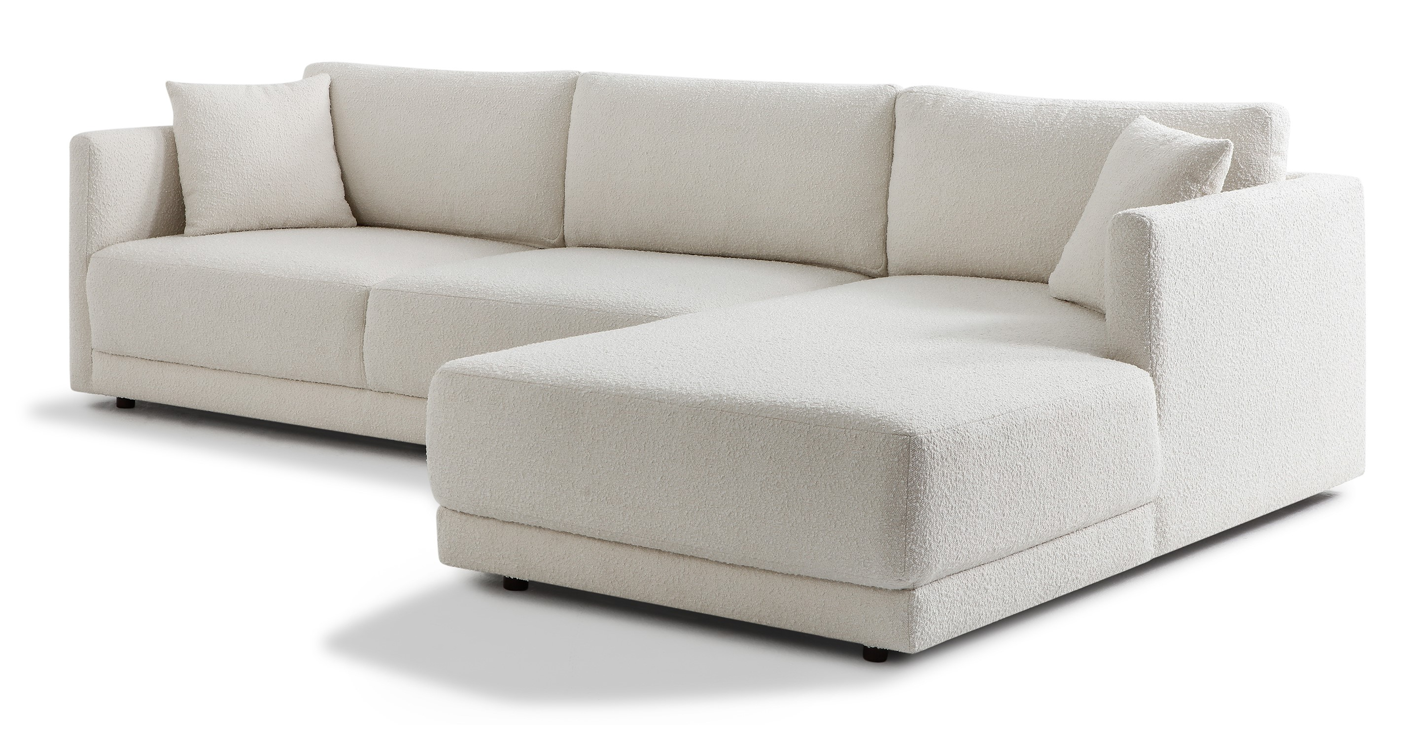 "Domus 115"" Fabric Sofa Sectional Right, Blanc Boucle"