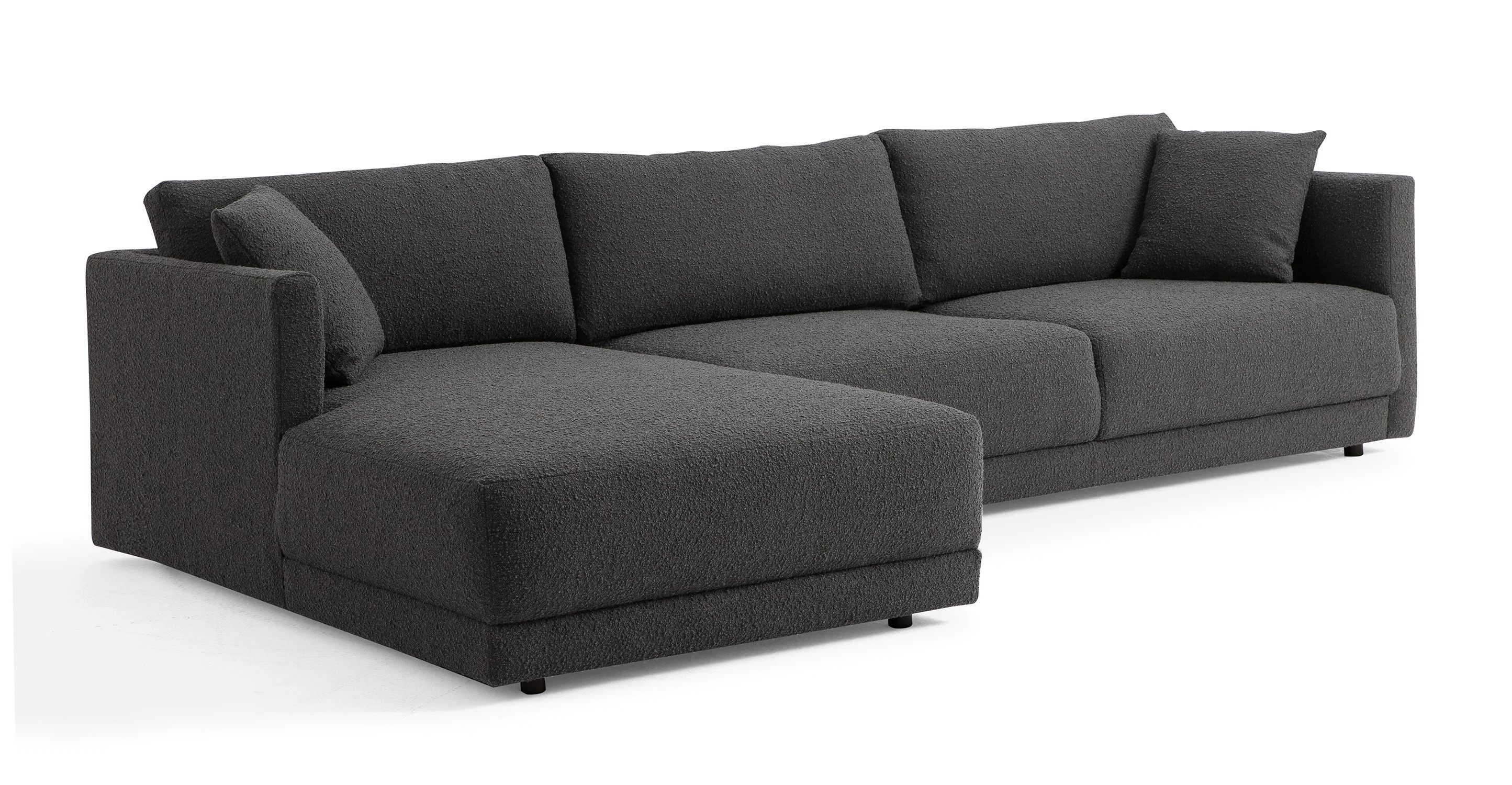 "Domus 115"" Fabric Sofa Sectional Left, Gris Boucle"