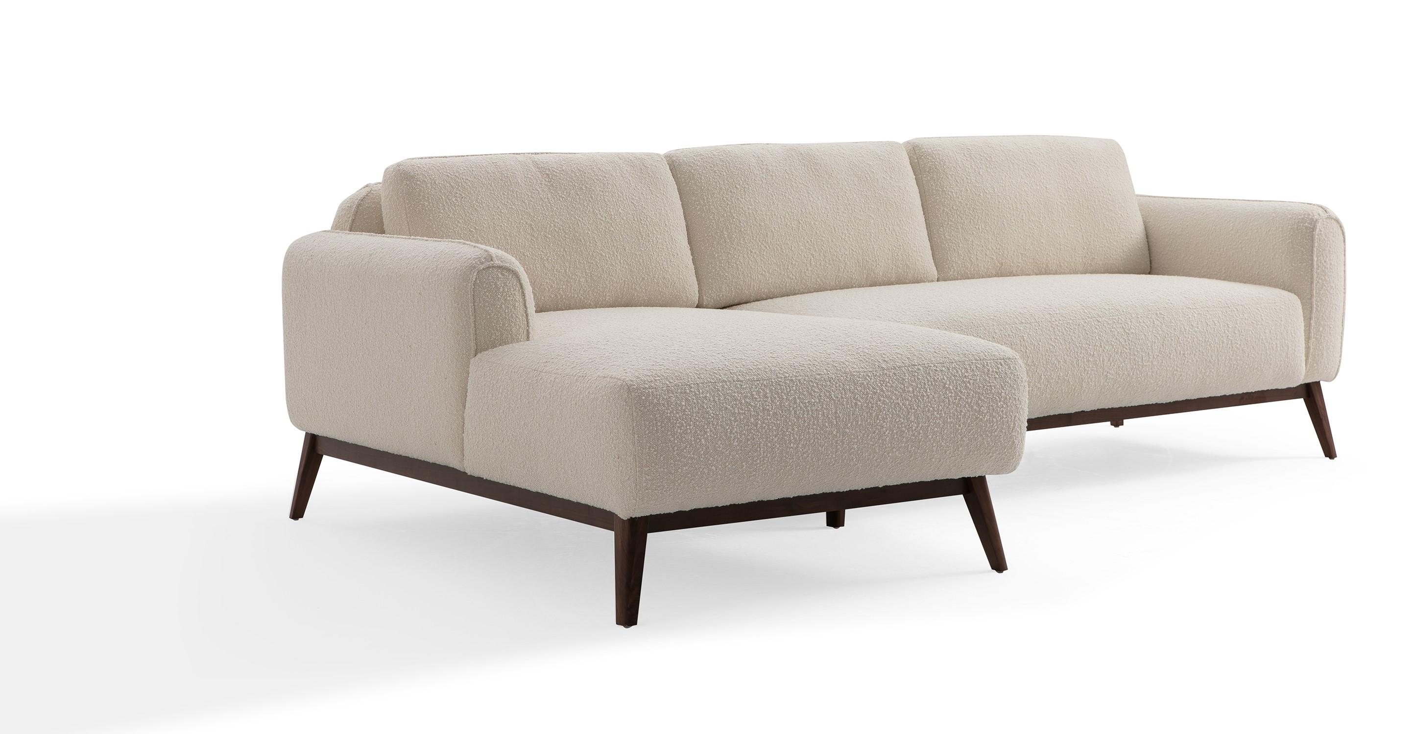 "Metro 100"" Fabric Sofa Sectional Left, Blanc Boucle"