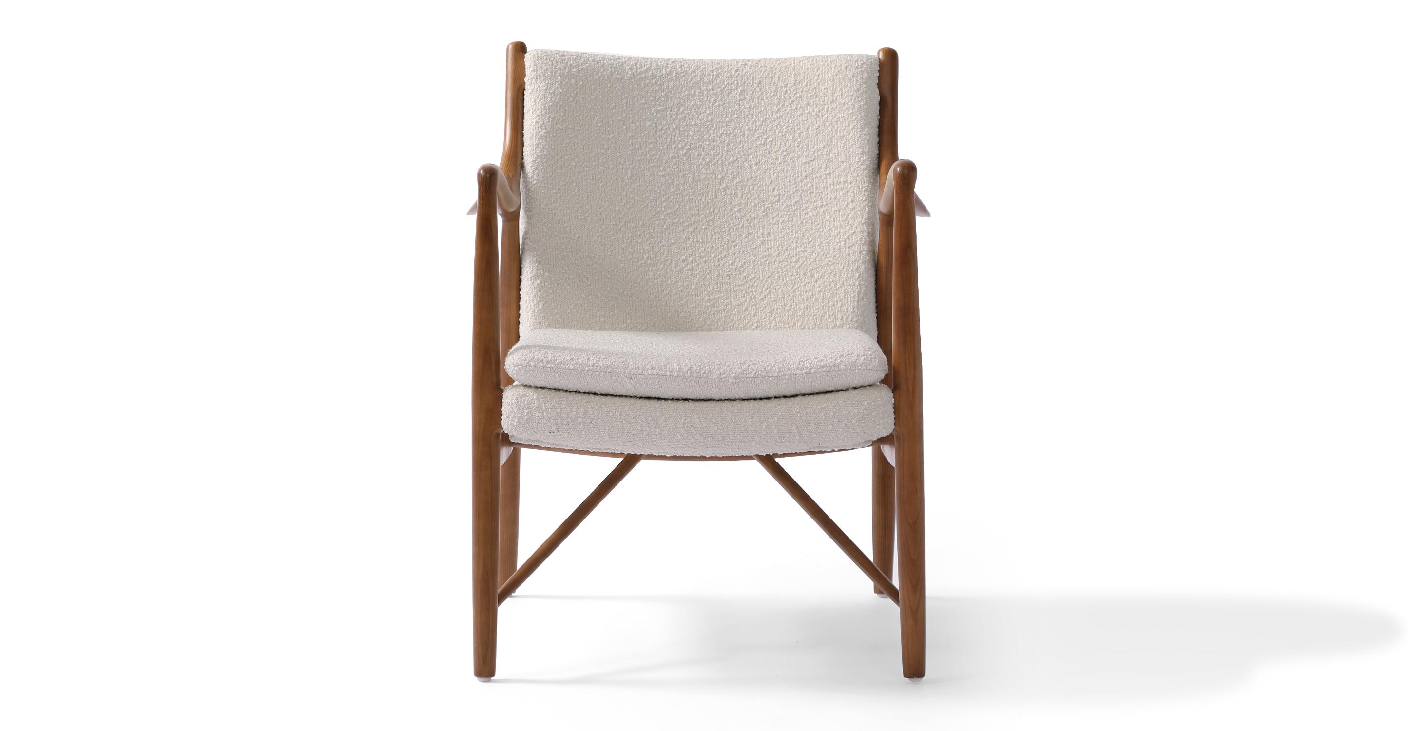 "Copenhagen 26"" Fabric Armchair, Walnut/Blanc Boucle"