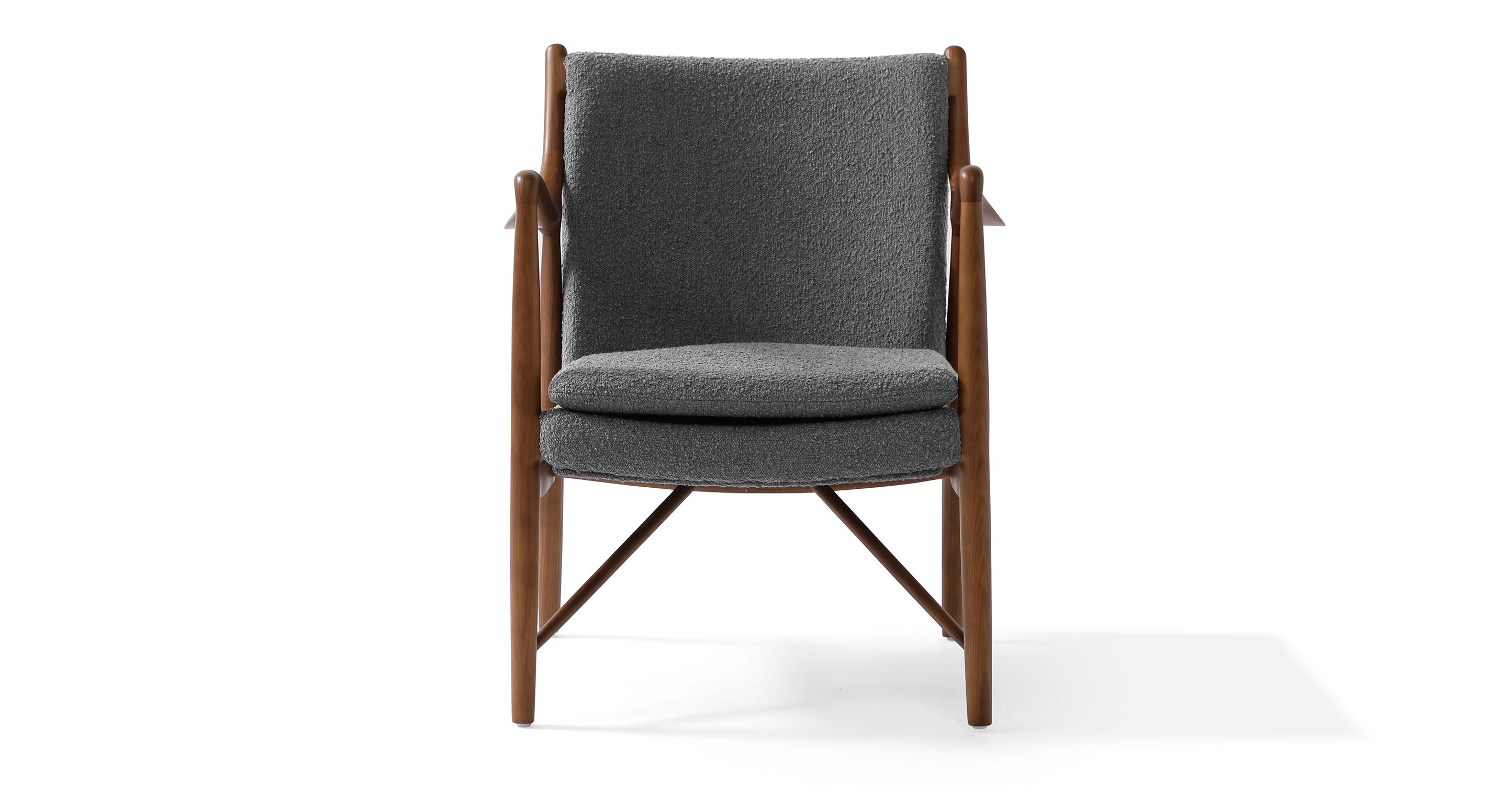 "Copenhagen 26"" Fabric Armchair, Walnut/Gris Boucle"