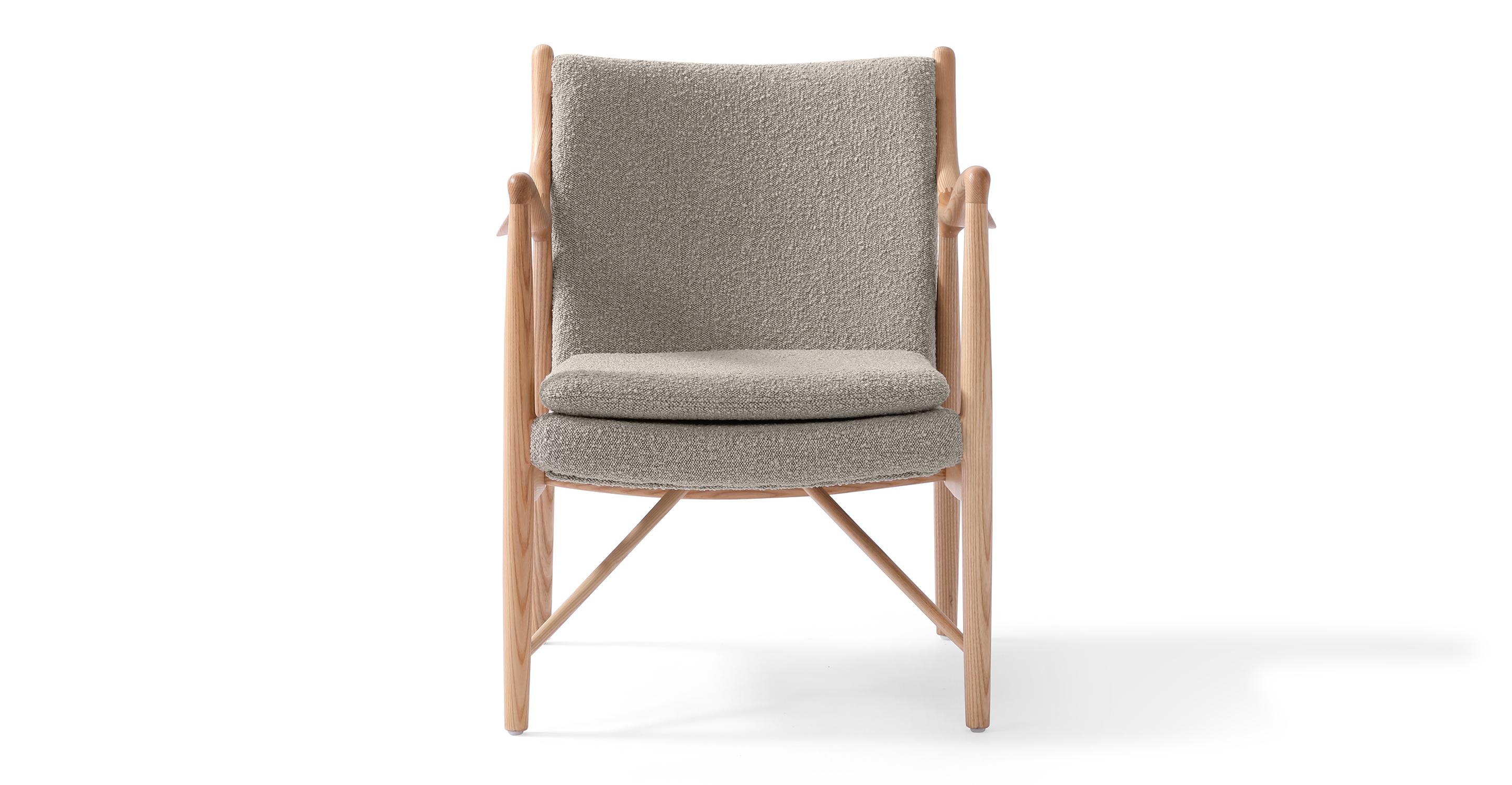 "Copenhagen 26"" Fabric Armchair, Natural/Bocce Boucle"