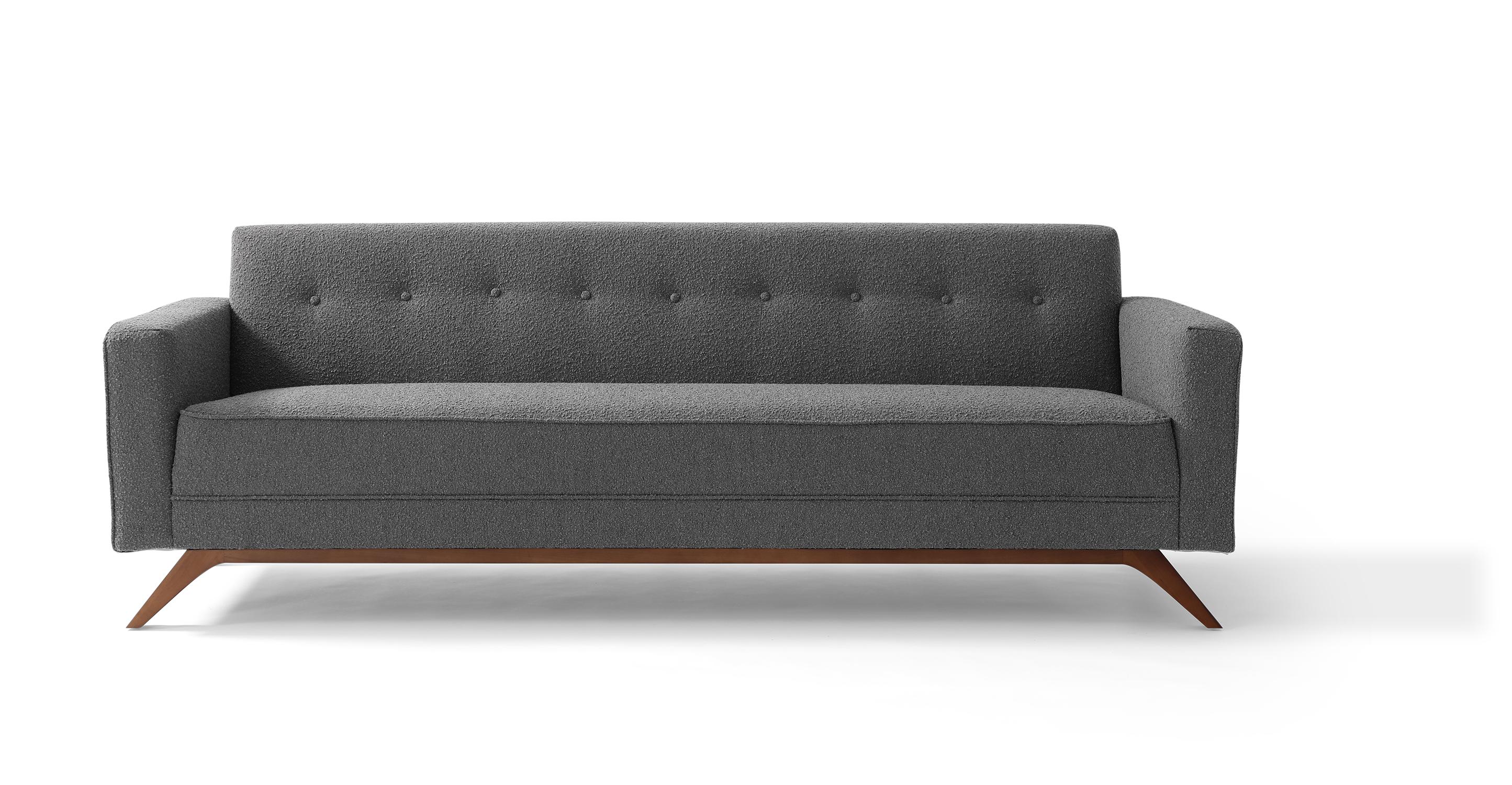 """Bauhaus 90"""" Modern Fabric Sofa, Gris Boucle"""