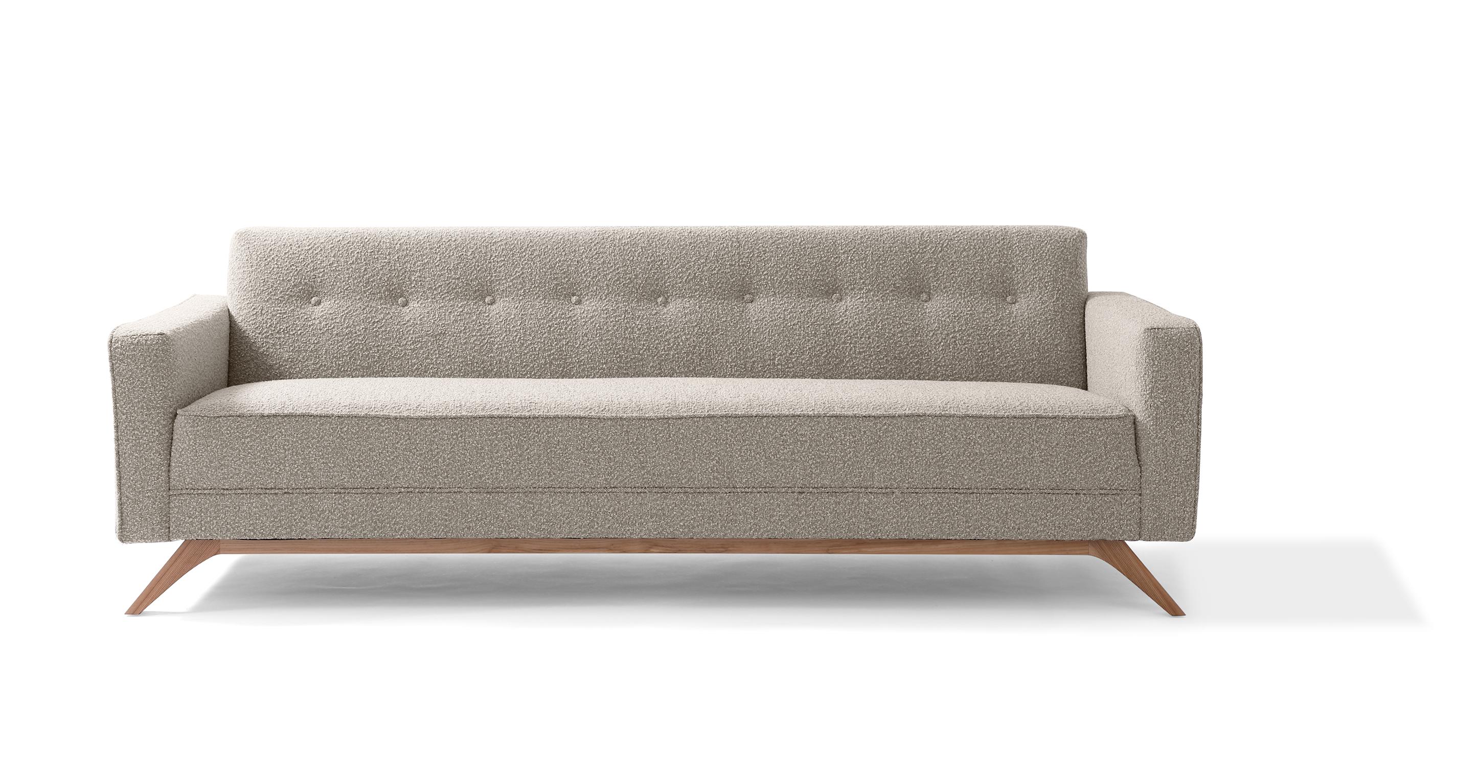 "Bauhaus 90"" Modern Fabric Sofa, Bocce Boucle"