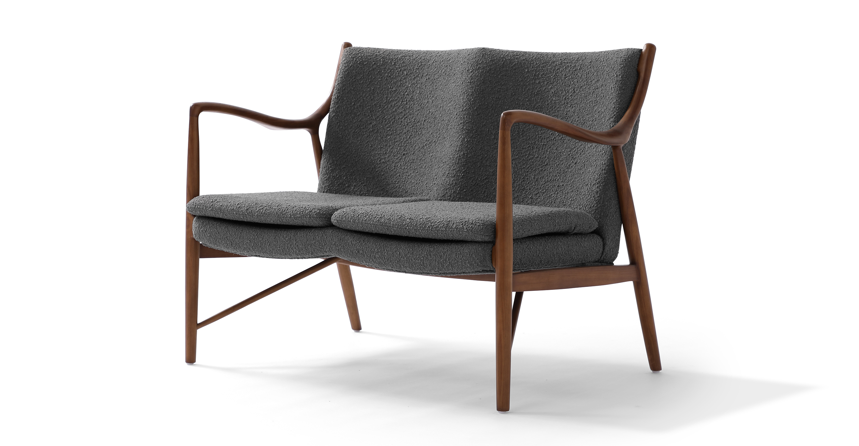 "Copenhagen 47"" Fabric Sofa, Walnut/Gris Boucle"
