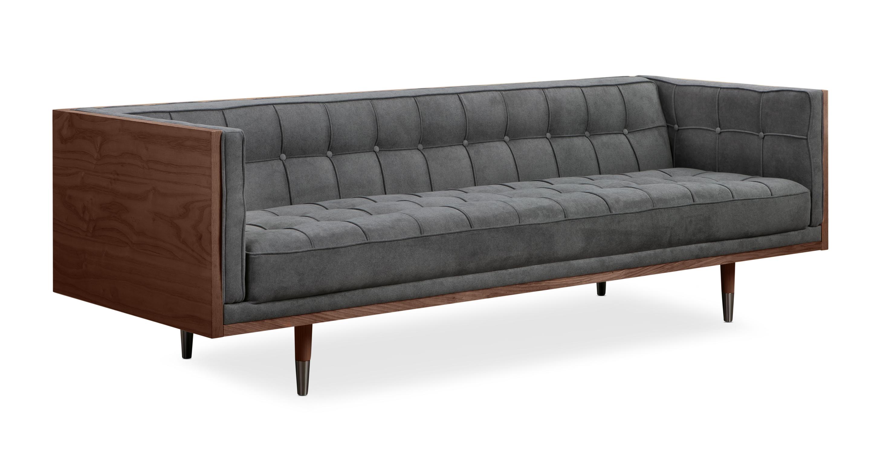 """Woodrow Box 87"""" Fabric Sofa, Walnut/Early Velvet"""