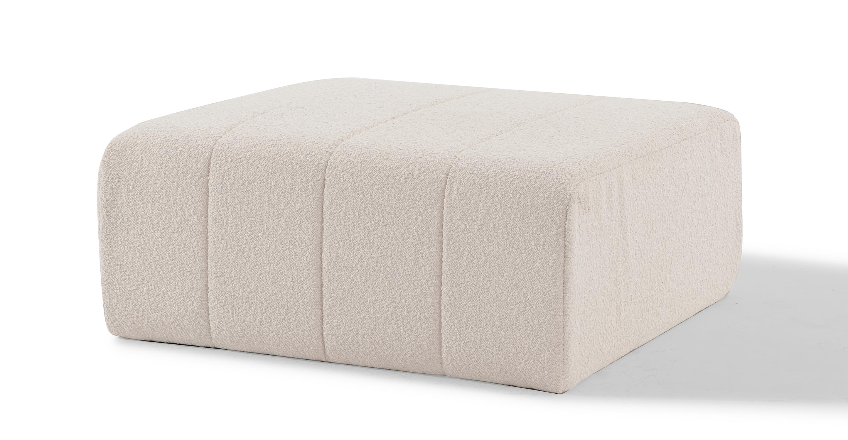 "Cooper 36"" Fabric Ottoman, Blanc Boucle"