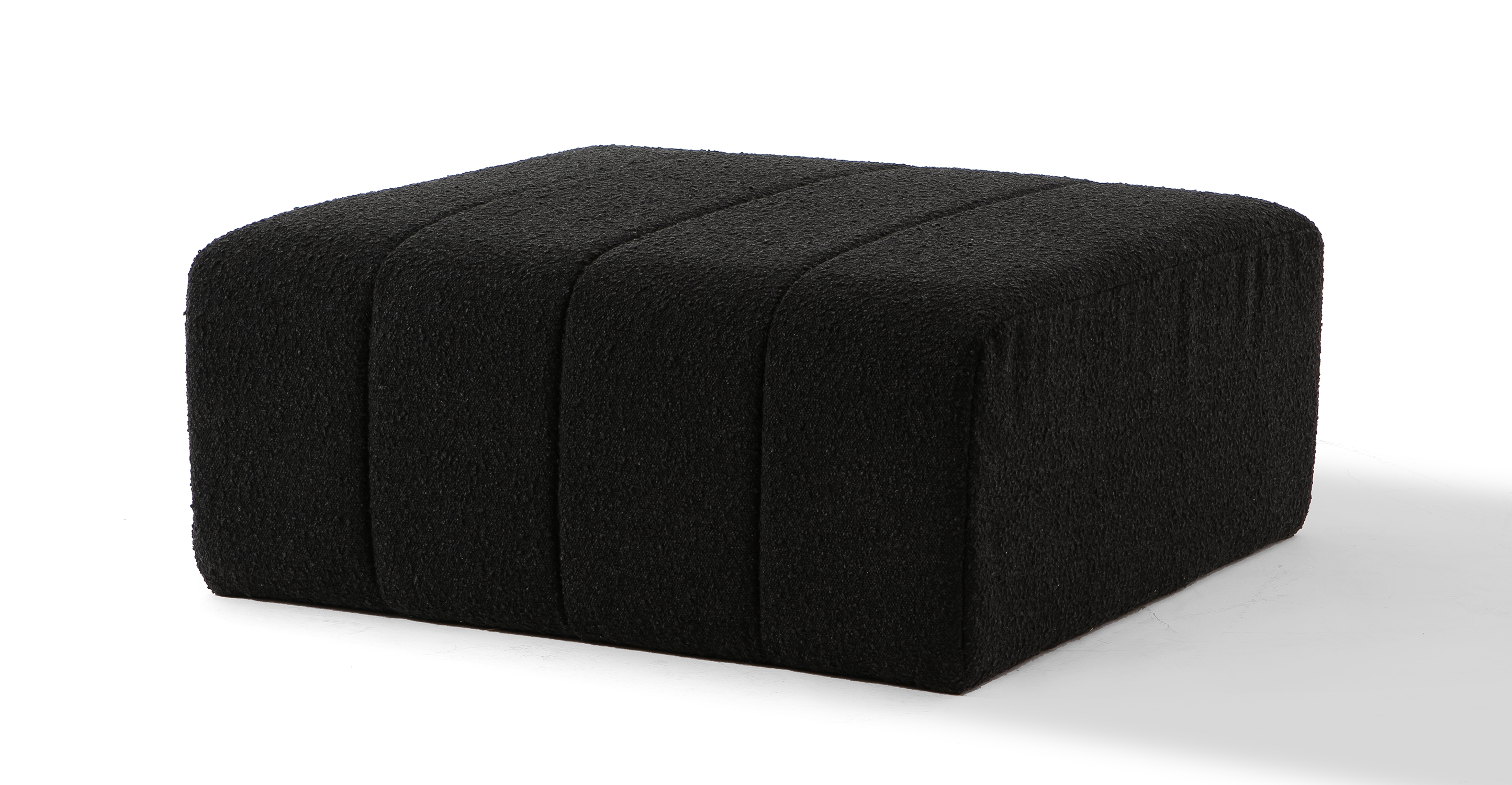 "Cooper 36"" Fabric Ottoman, Noir Boucle"