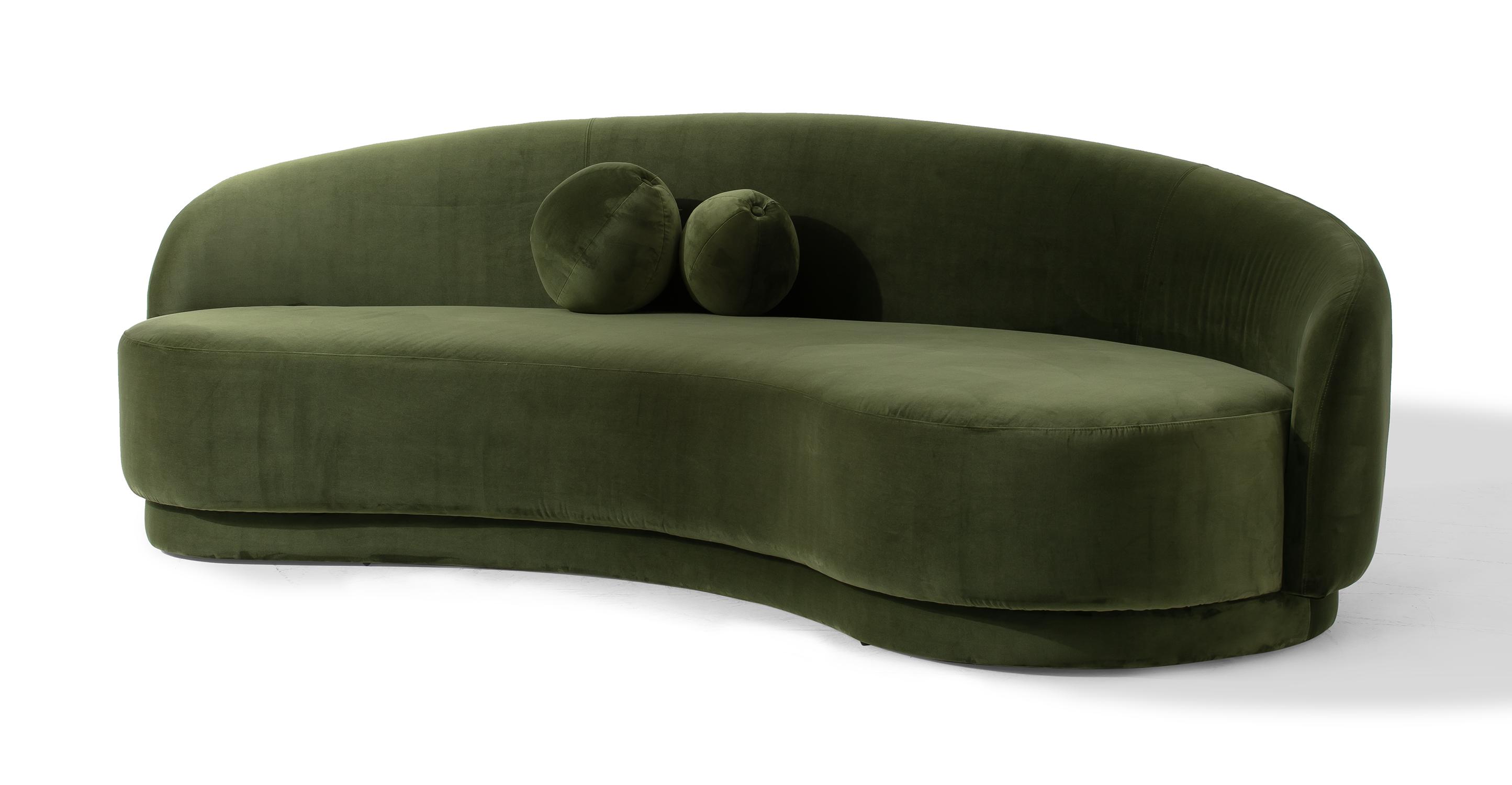"""Izzah 101"""" Fabric Sofa, Fern Velvet"""