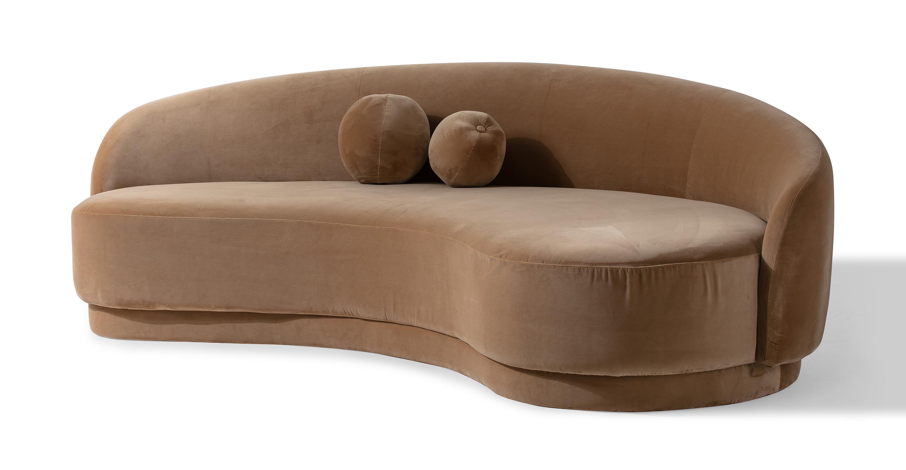 """Izzah 101"""" Fabric Sofa, Sand Velvet"""