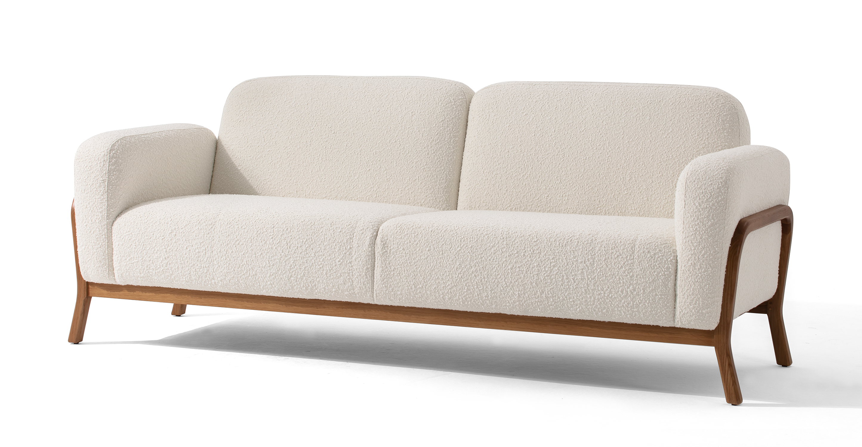 "Cabbie 85"" Fabric Sofa, Blanc Boucle"