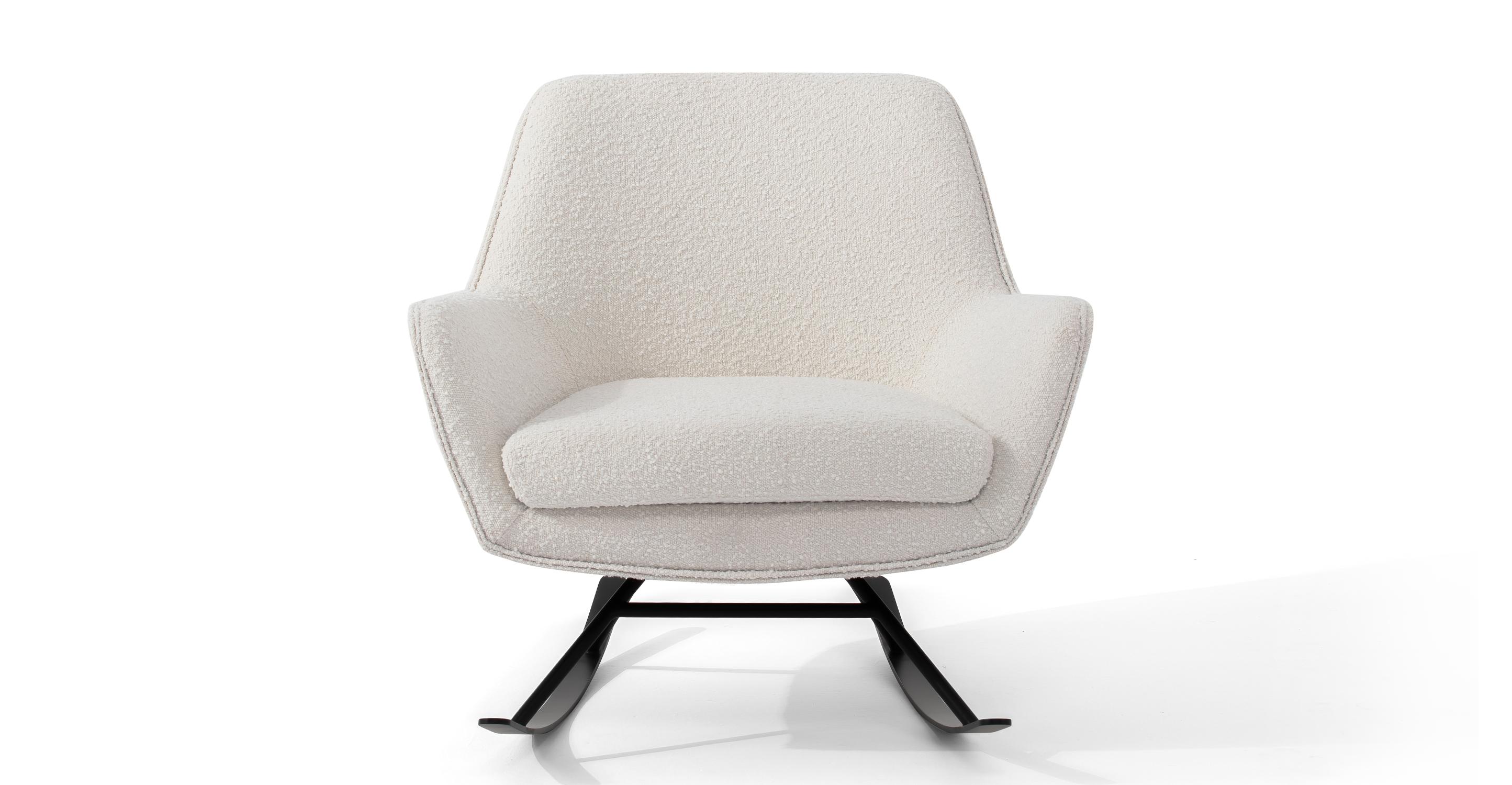 "Alpine 32"" Fabric Rocking Chair, Blanc Boucle"