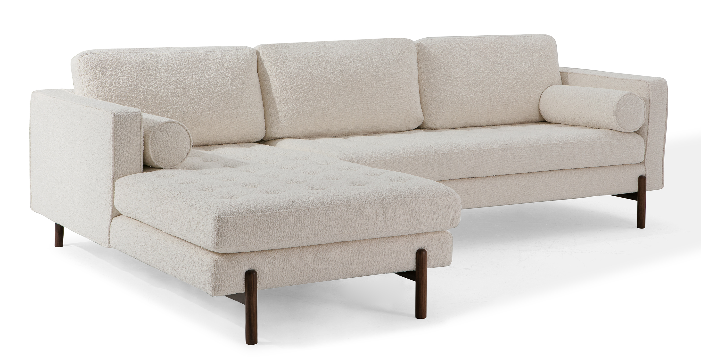 "Dwell 108"" Fabric Sofa Sectional Left, Blanc Boucle"