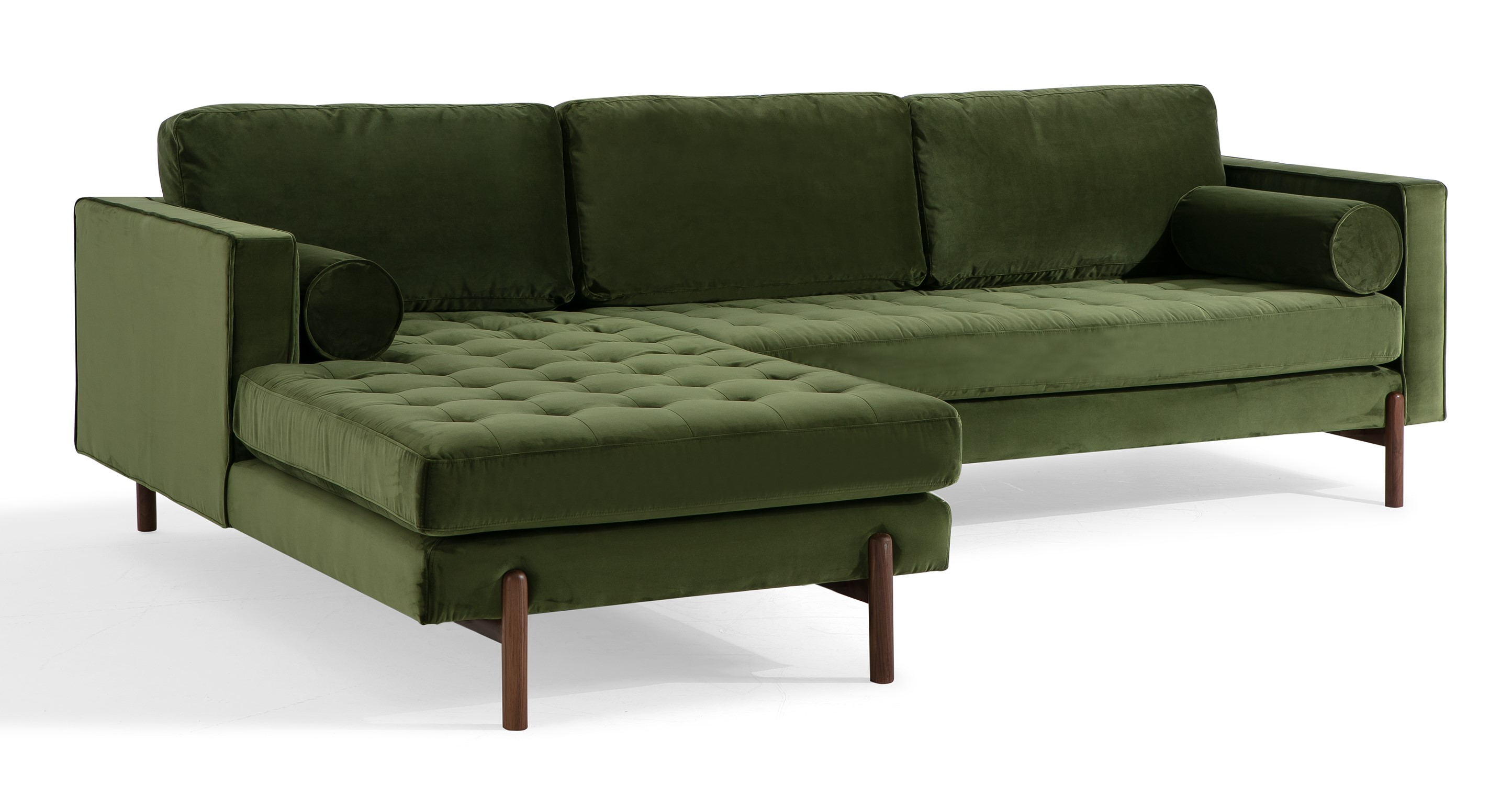 """Dwell 108"""" Fabric Sofa Sectional Left, Fern Velvet"""