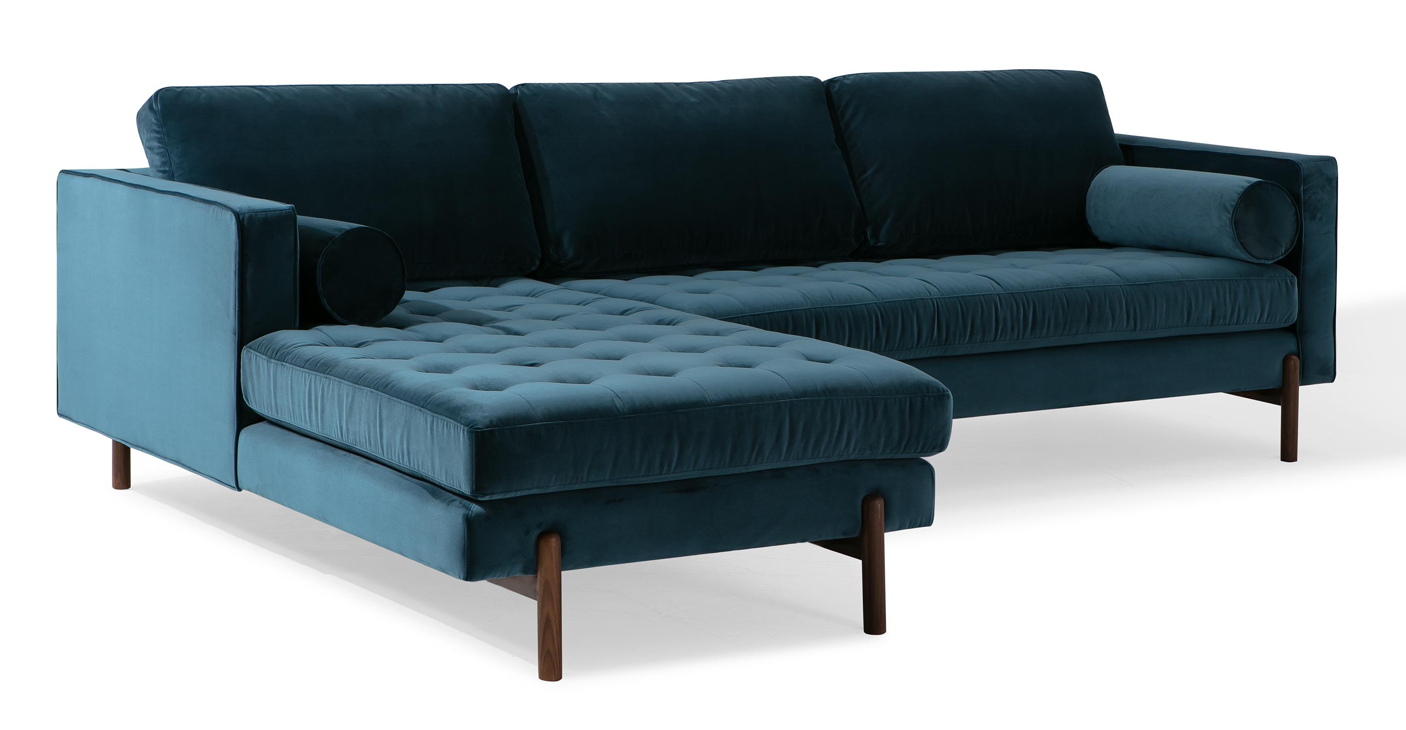 """Dwell 108"""" Fabric Sofa Sectional Left, Petrol Velvet"""