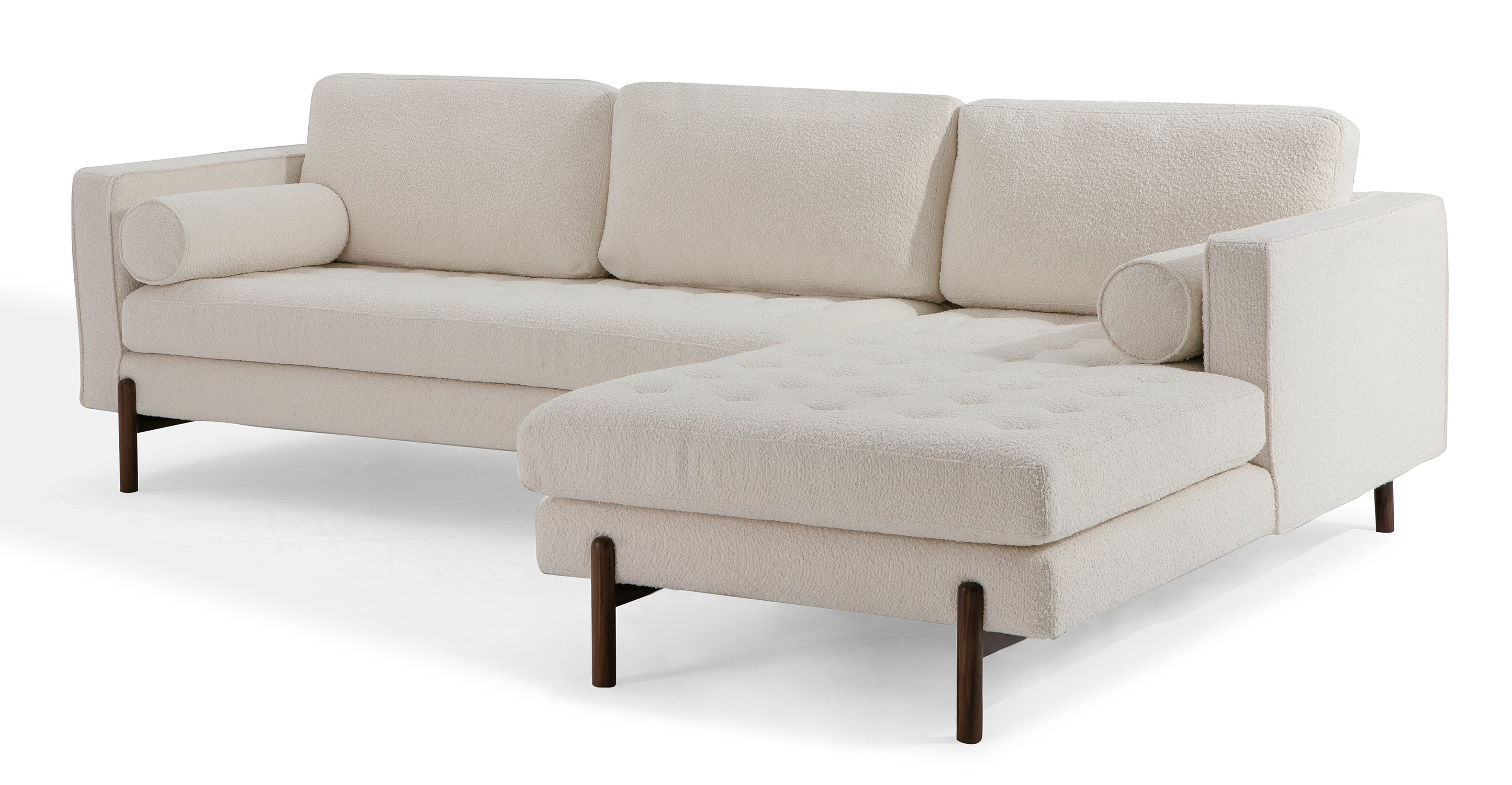 """Dwell 108"""" Fabric Sofa Sectional Right, Blanc Boucle"""