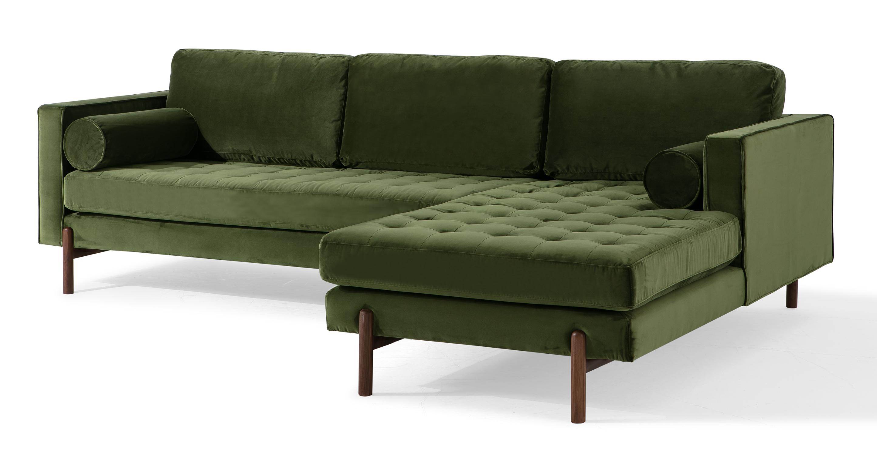 "Dwell 108"" Fabric Sofa Sectional Right, Fern Velvet"